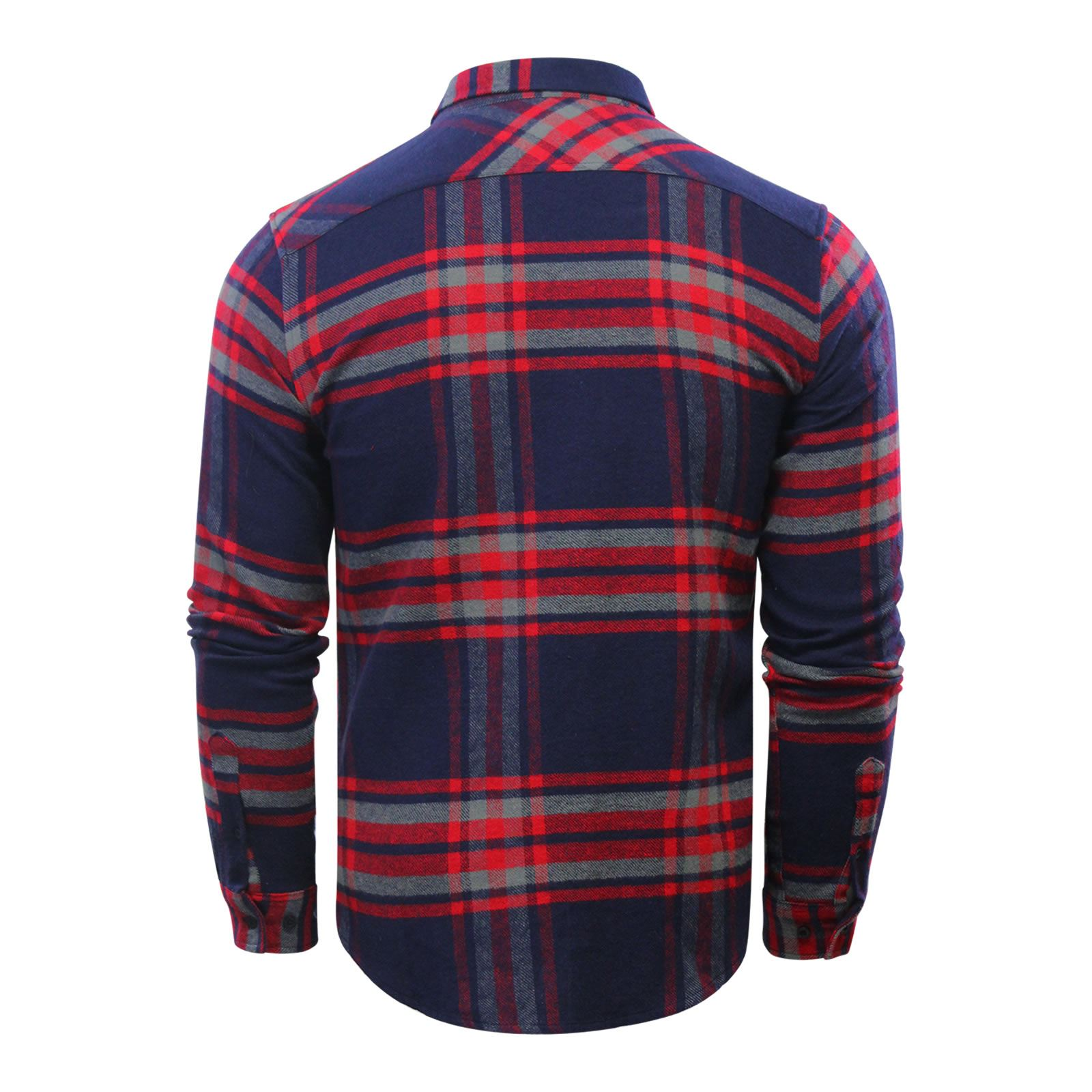 Crosshatch-Fitzroya-Mens-Check-Shirt-Flannel-Brushed-Cotton-Long-Sleeve miniature 5
