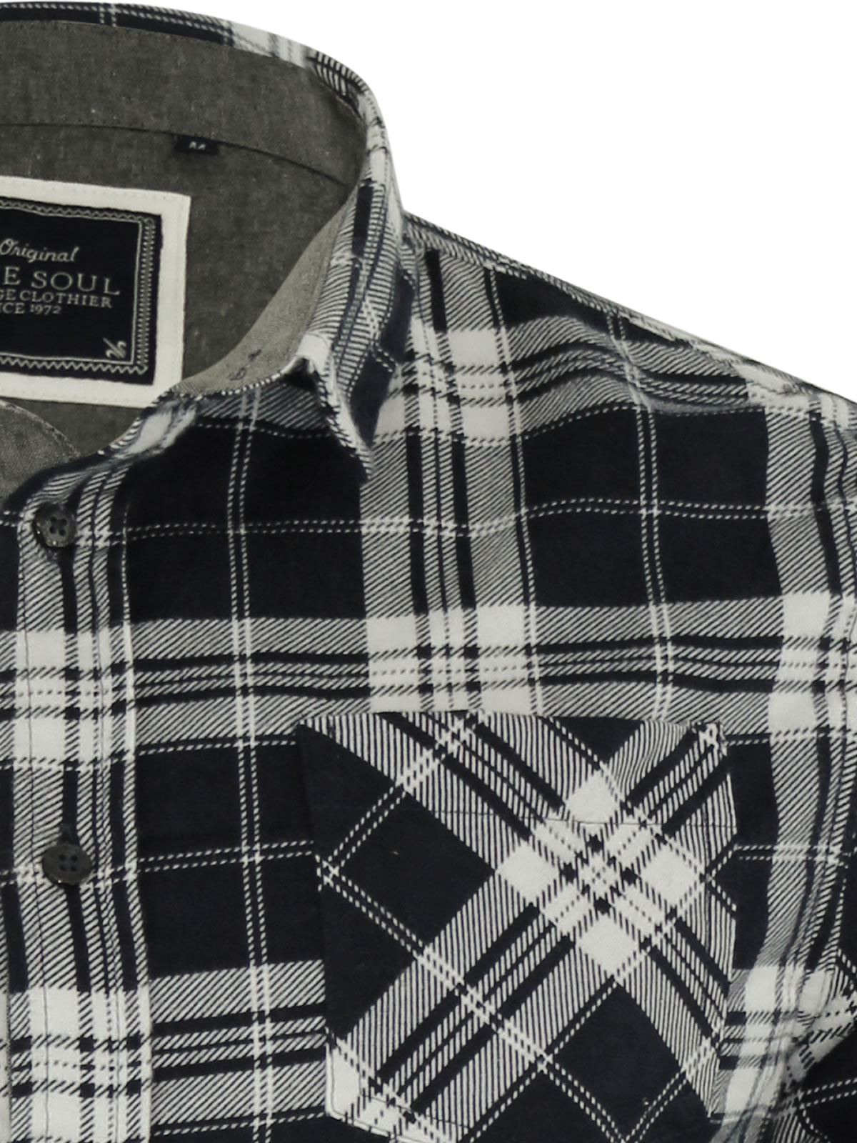 Mens-Check-Shirt-Brave-Soul-Flannel-Brushed-Cotton-Long-Sleeve-Casual-Top thumbnail 28