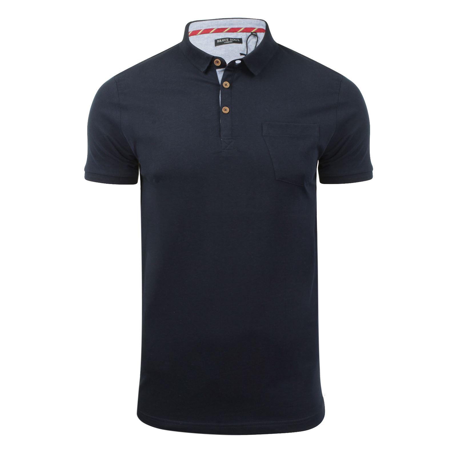 Brave-Soul-Glover-Homme-Polo-T-Shirt-En-Coton-A-Col-Manches-Courtes-Haut-Decontracte miniature 60