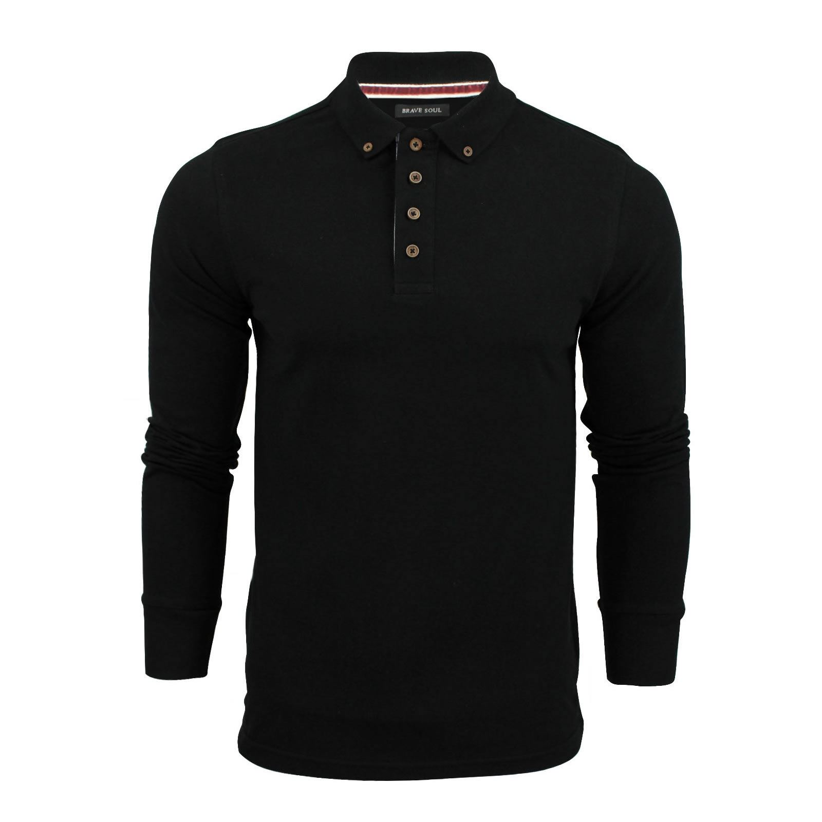 Brave-Soul-Lincoln-Homme-Polo-Shirt-a-Manches-Longues-En-Coton-Pique-Top-Casual miniature 50