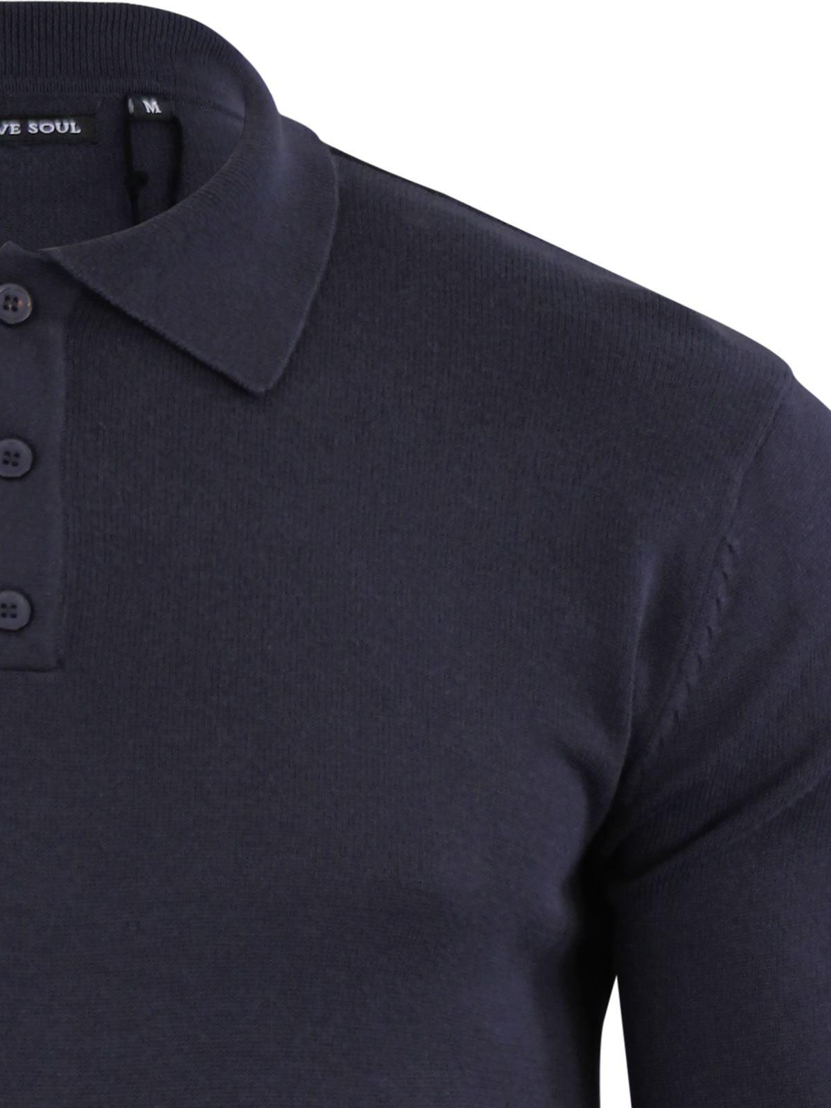 Brave-Soul-Patte-De-Boutonnage-Homme-Tricot-Polo-T-Shirt-a-Col-Pull miniature 4
