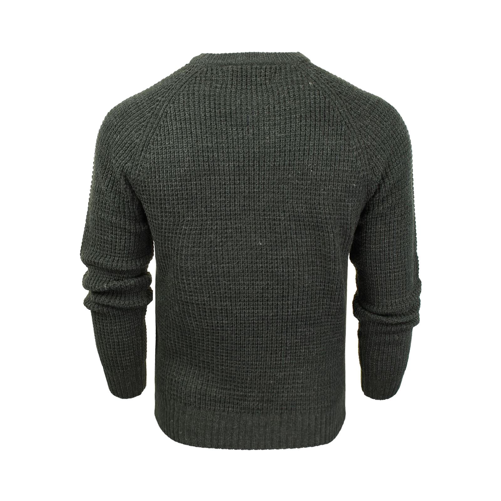 Mens-Jumper-Crosshatch-General-Waffle-Knitted-Crew-Neck-Wool-Mix-Sweater thumbnail 6