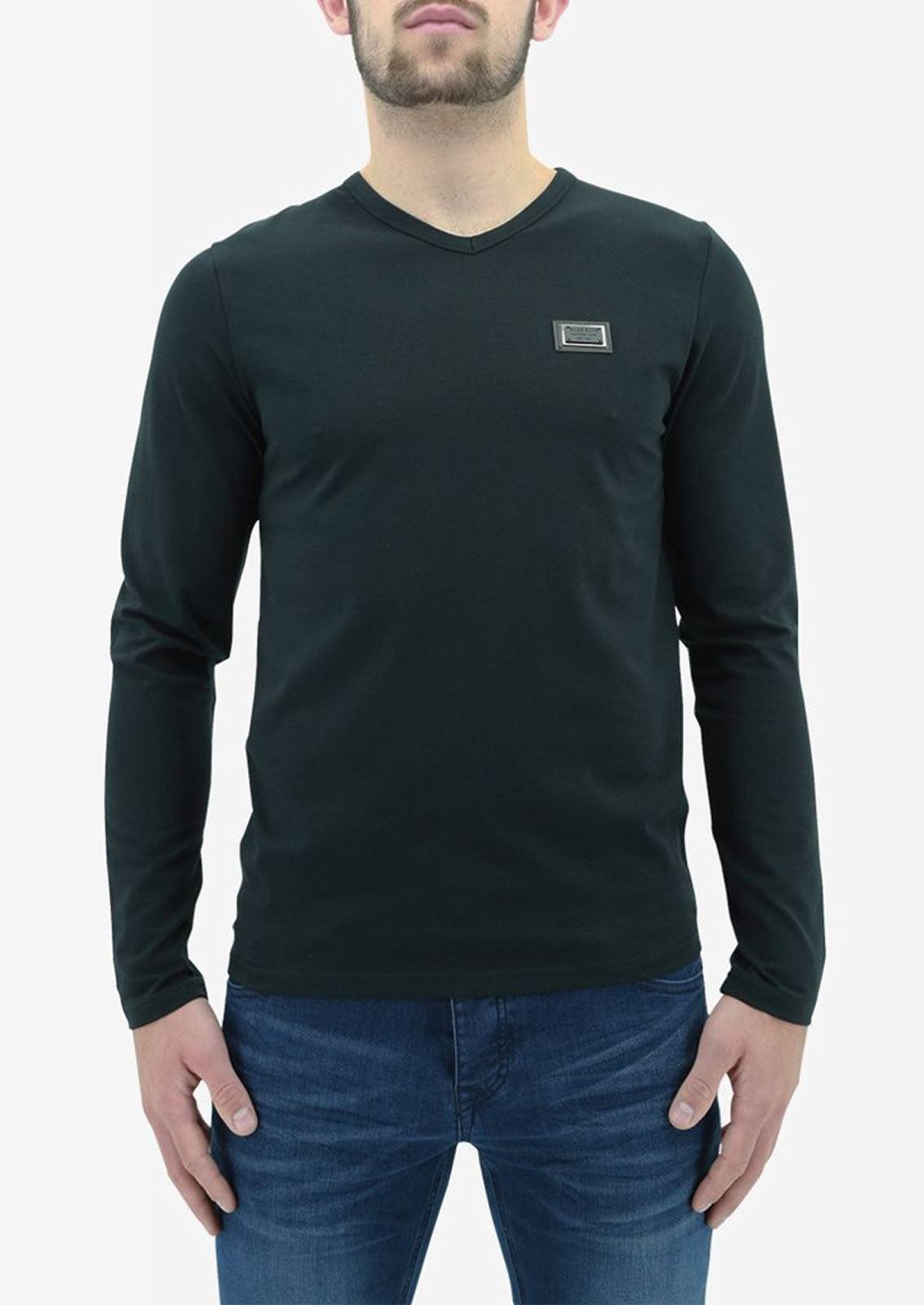 Ne-riche-par-l-039-argent-vetements-jaspe-sanguin-Hommes-T-Shirt-a-Manches-Longues-V-Neck-Tee miniature 8