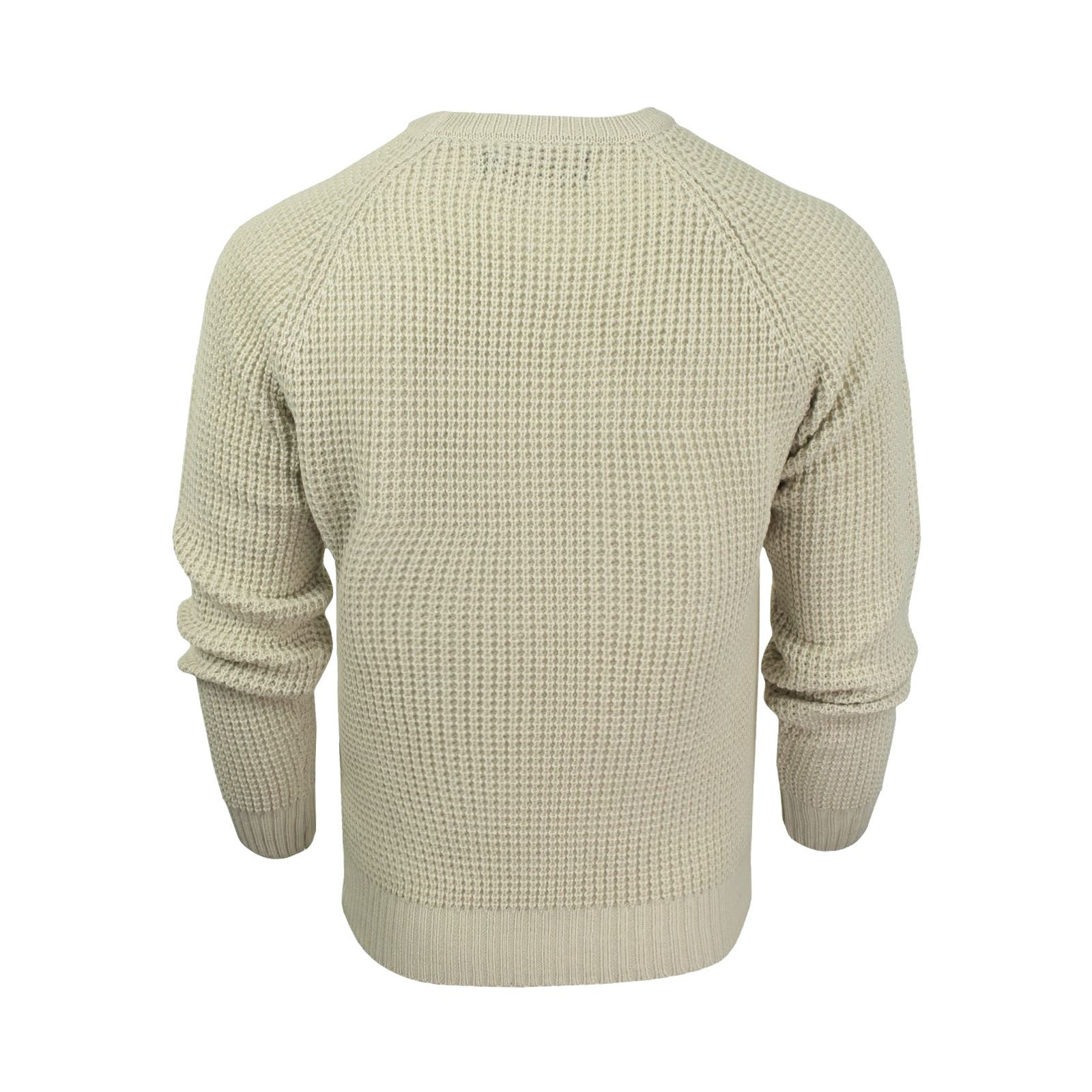 Mens-Jumper-Crosshatch-General-Waffle-Knitted-Crew-Neck-Wool-Mix-Sweater thumbnail 11