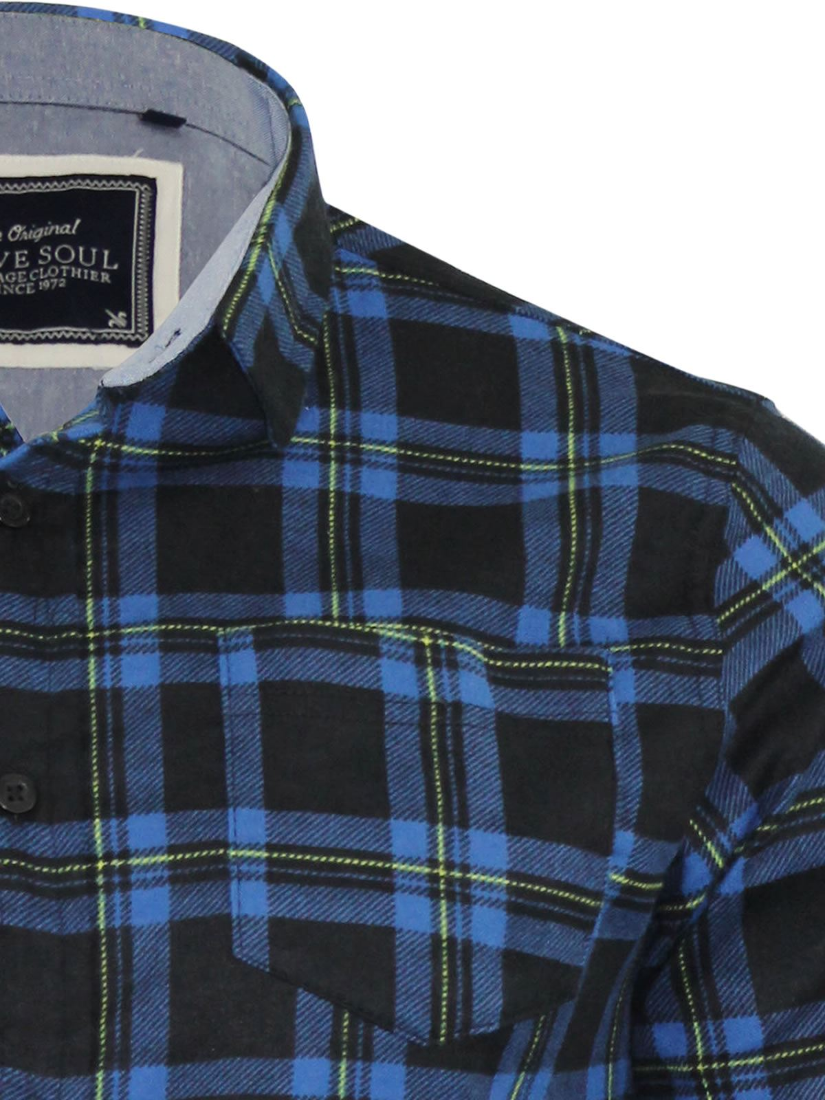 Mens-Check-Shirt-Brave-Soul-Flannel-Brushed-Cotton-Long-Sleeve-Casual-Top thumbnail 70