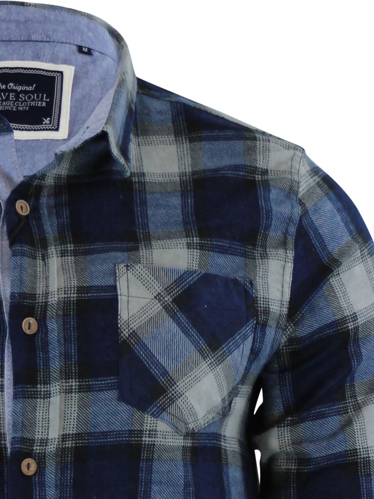 Mens-Check-Shirt-Brave-Soul-Flannel-Brushed-Cotton-Long-Sleeve-Casual-Top thumbnail 40