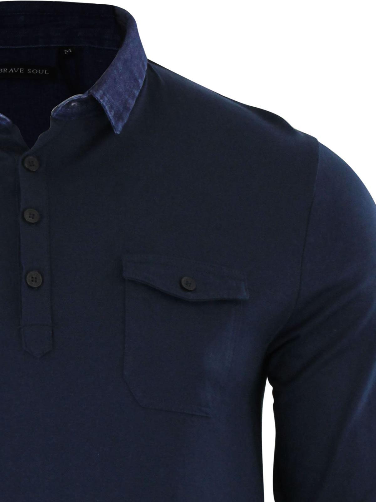 Brave-Soul-Gospel-Homme-Polo-T-Shirt-Denim-a-col-a-manches-longues-Top-Casual miniature 4