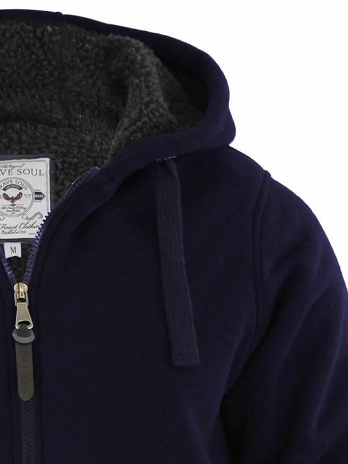 Brave-Soul-Zone-Mens-Hoodie-Sherpa-Fleece-Lined-Zip-Up-Hooded-Sweater thumbnail 4