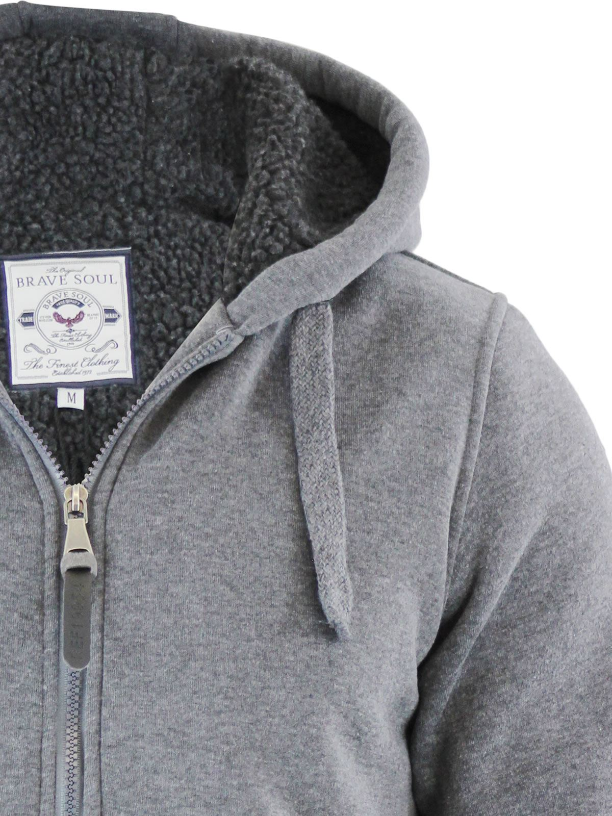 Mens-Hoodie-Brave-Soul-Zone-Sherpa-Fleece-Lined-Zip-Up-Hooded-Sweater thumbnail 10