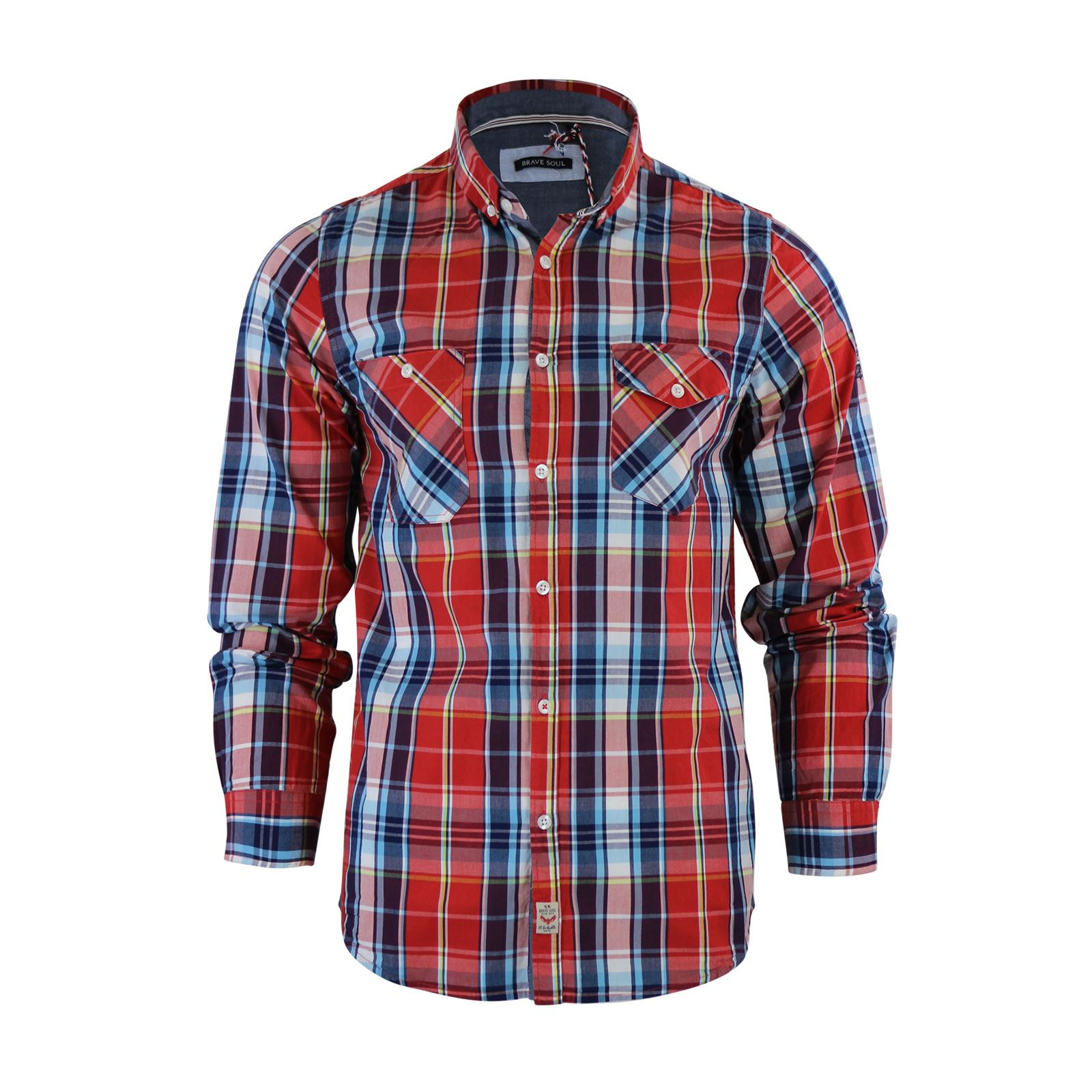 Brave-Soul-Mens-Check-Shirt-Flannel-Brushed-Cotton-Long-Sleeve-Casual-Top thumbnail 8