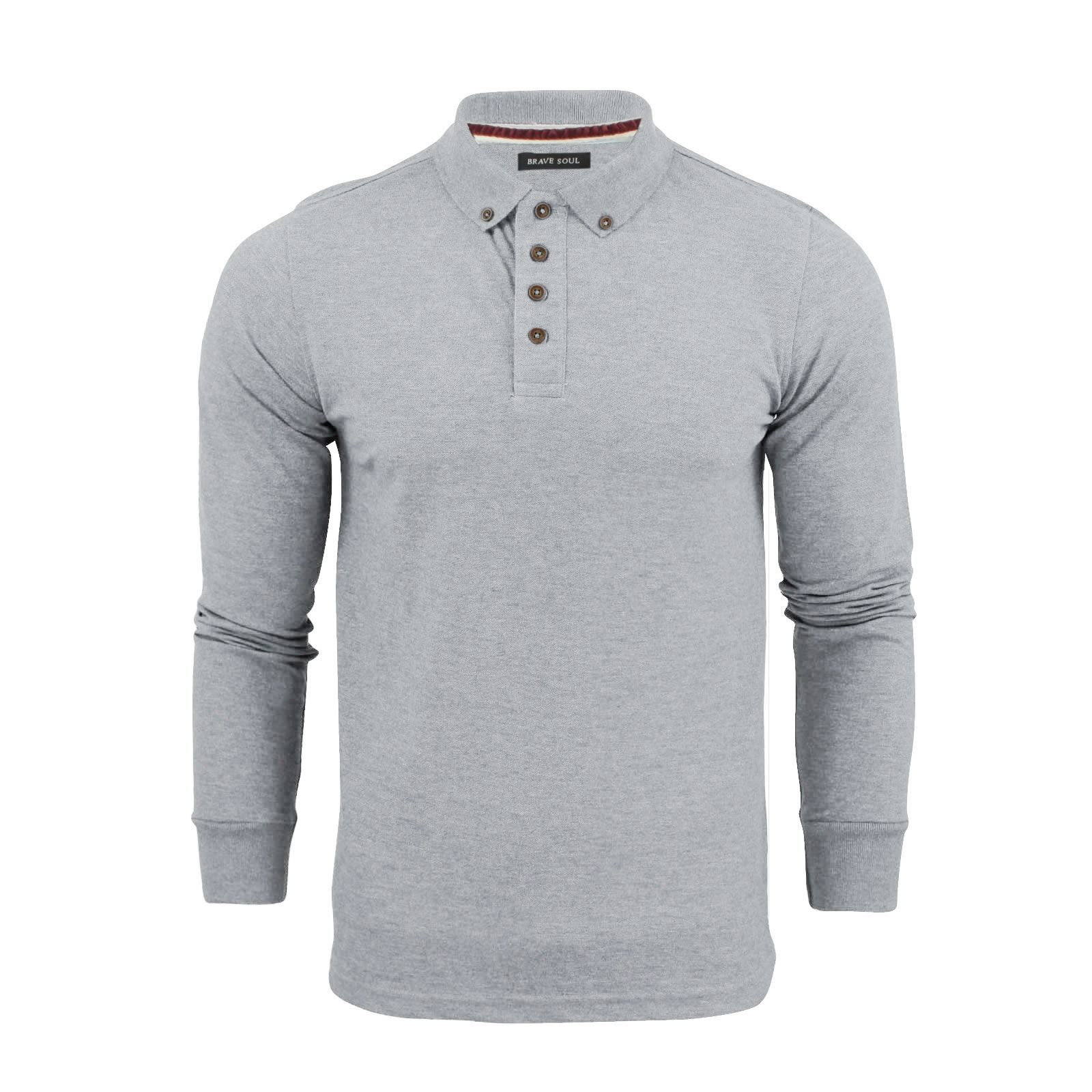 Brave-Soul-Lincoln-Homme-Polo-Shirt-a-Manches-Longues-En-Coton-Pique-Top-Casual miniature 32