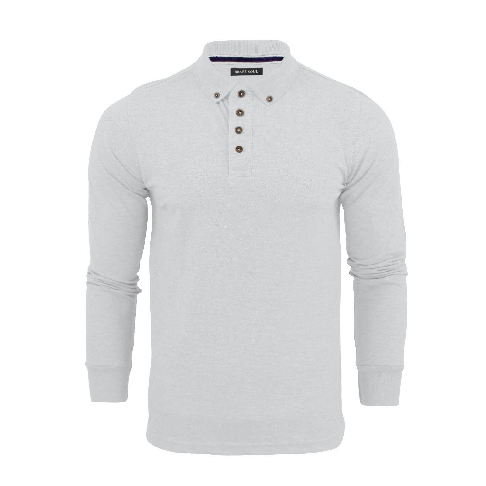 Brave-Soul-Lincoln-Homme-Polo-Shirt-a-Manches-Longues-En-Coton-Pique-Top-Casual miniature 34