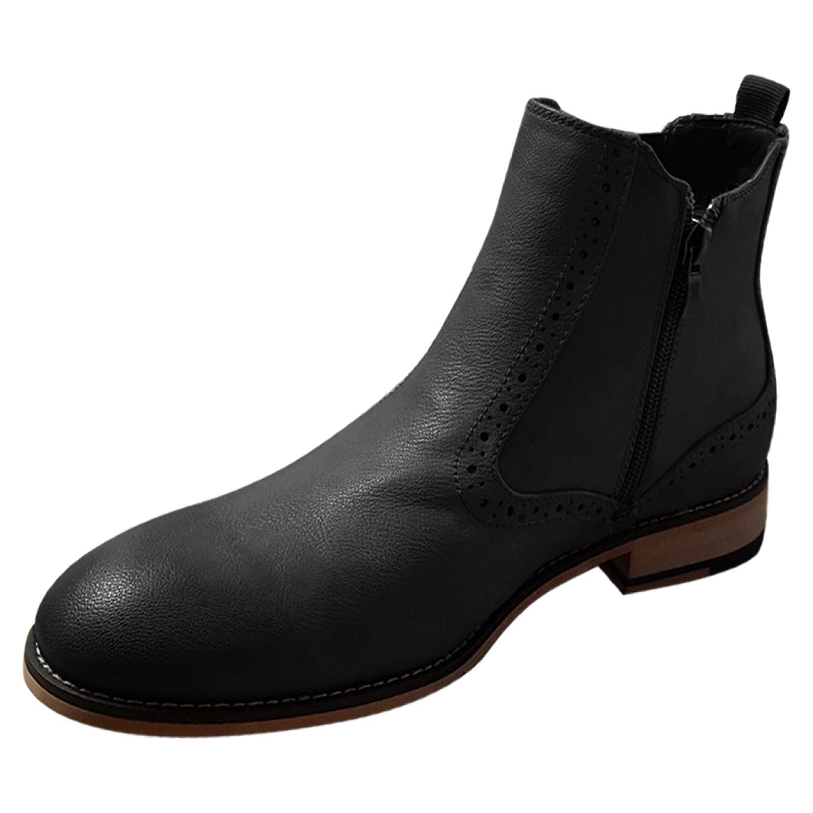 miniature 3 - Homme-Bottines-Chelsea-CAVANI-Fox-Aspect-Cuir-Slip-On-Classic-Mod-Chaussures