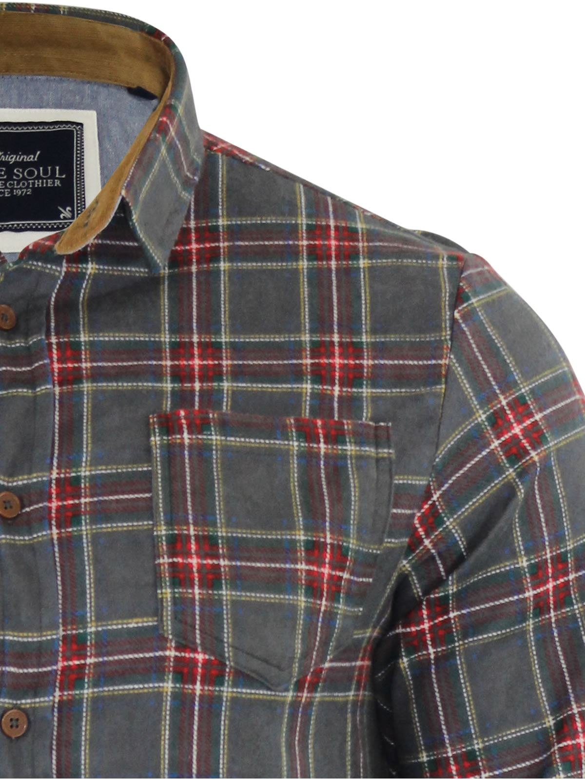 Mens-Check-Shirt-Brave-Soul-Flannel-Brushed-Cotton-Long-Sleeve-Casual-Top thumbnail 13