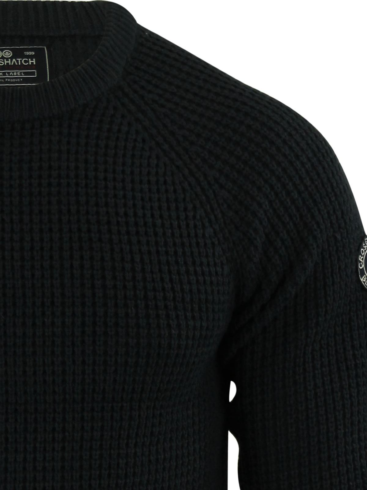 Mens-Jumper-Crosshatch-General-Waffle-Knitted-Crew-Neck-Wool-Mix-Sweater thumbnail 9