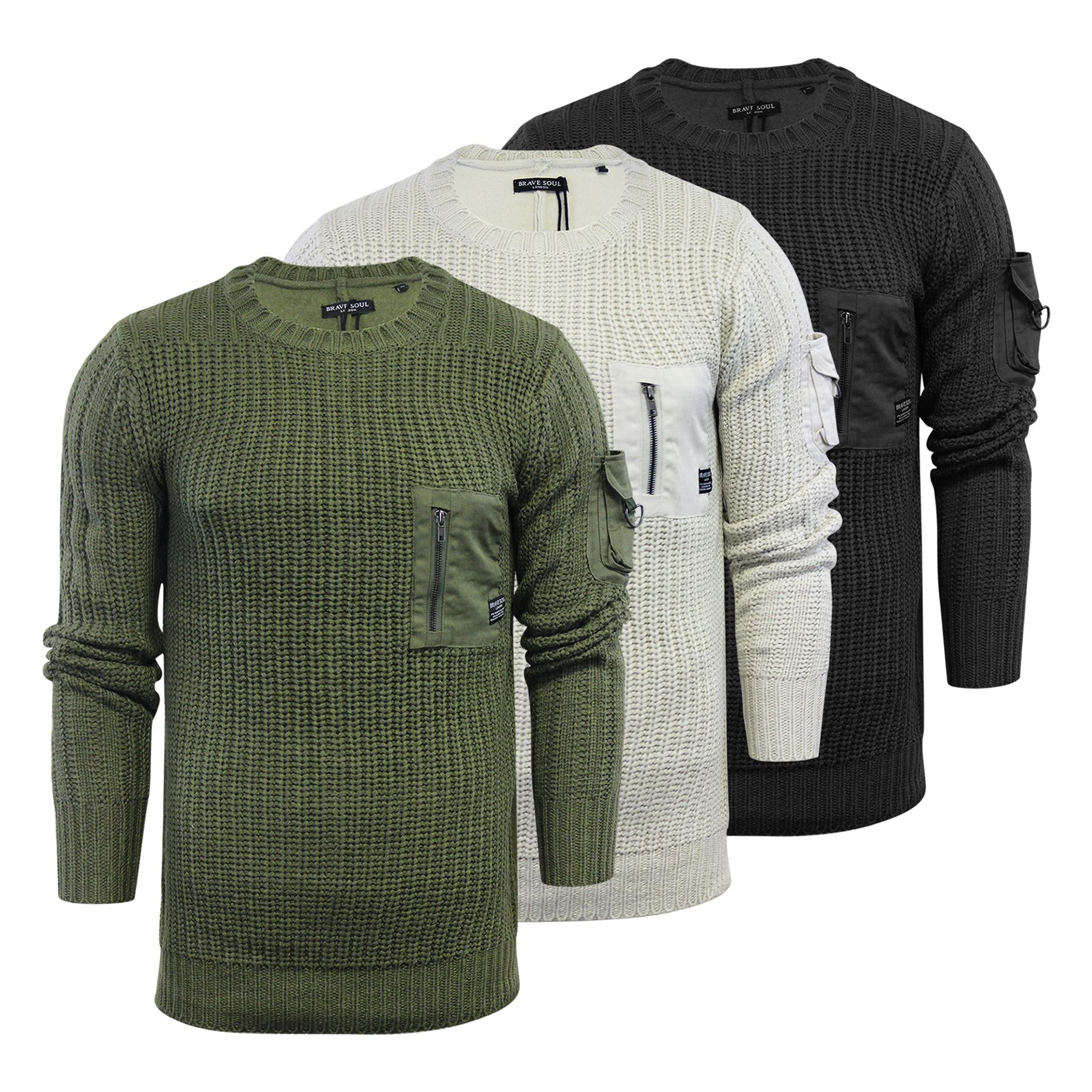 74906368238 Details about Brave Soul Leviticus Mens Jumper Longline Military Style Crew  Neck Sweater