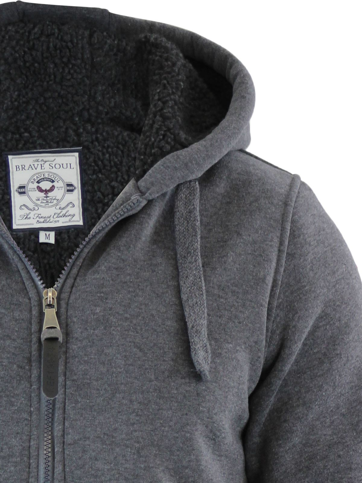 Brave-Soul-Zone-Mens-Hoodie-Sherpa-Fleece-Lined-Zip-Up-Hooded-Sweater thumbnail 16