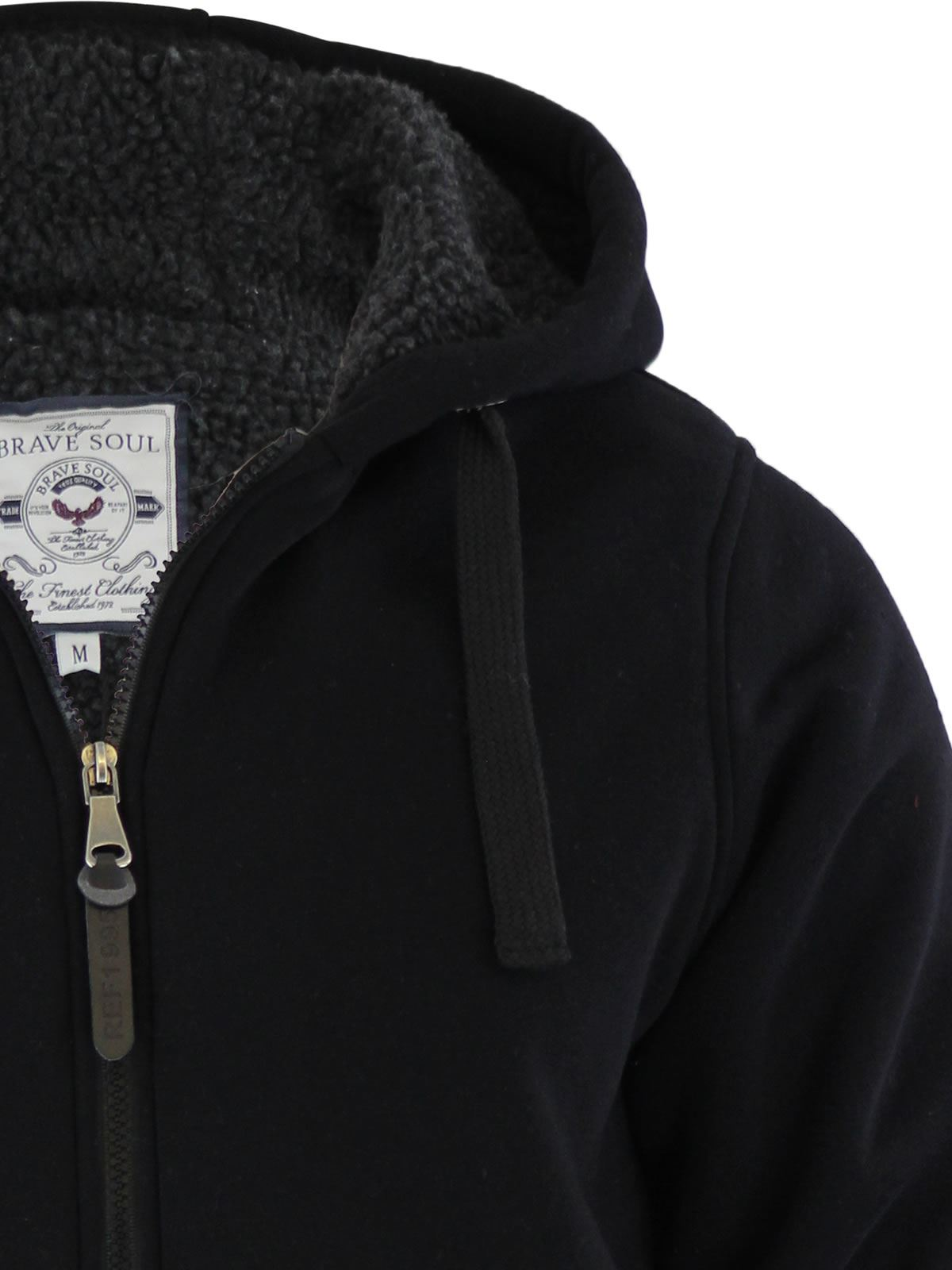 Mens-Hoodie-Brave-Soul-Zone-Sherpa-Fleece-Lined-Zip-Up-Hooded-Sweater thumbnail 22