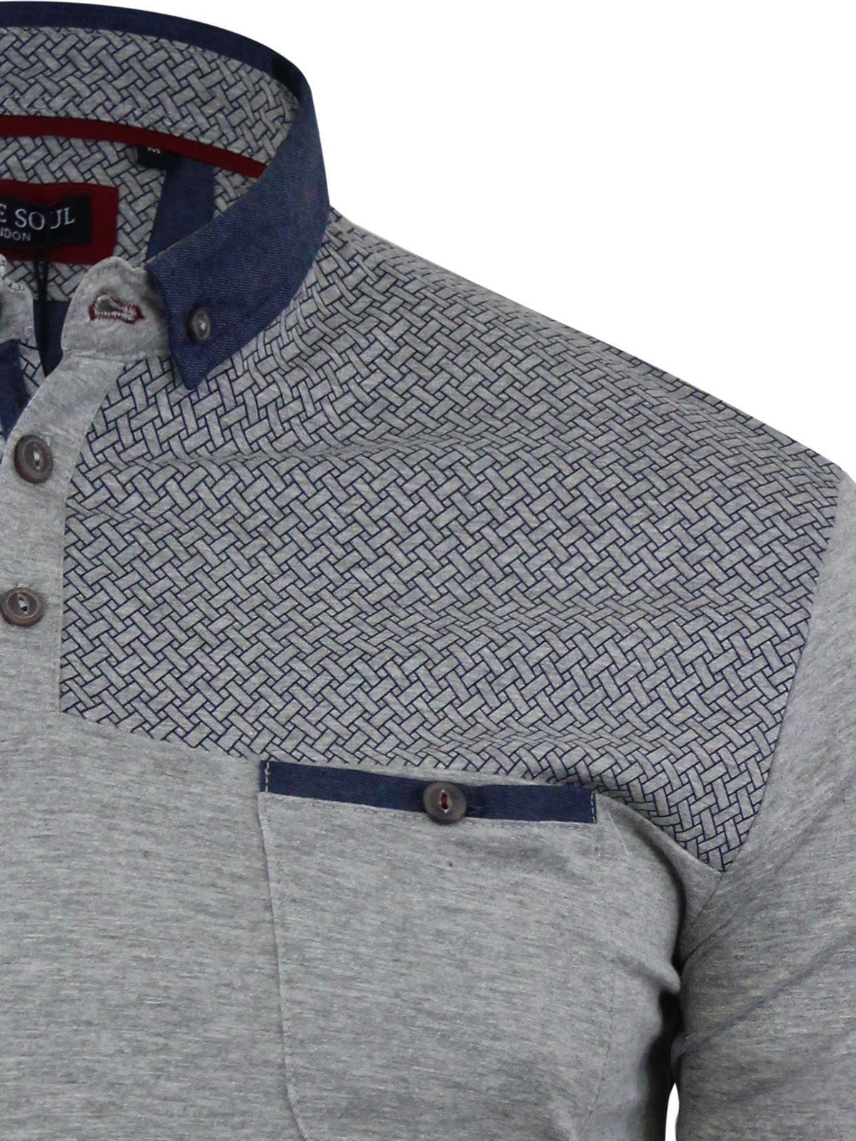 Mens-Polo-T-Shirt-Brave-Soul-Aqua-Printed-Short-Sleeve-Chambray-Collar-Top thumbnail 7