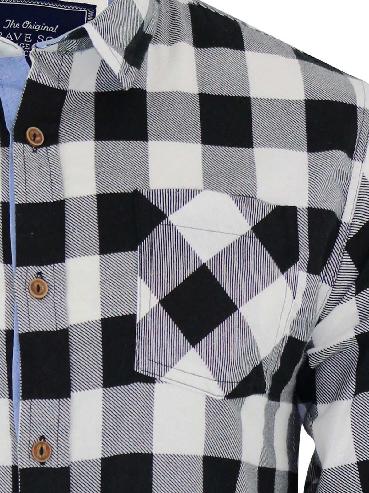 Mens-Check-Shirt-Brave-Soul-Flannel-Brushed-Cotton-Long-Sleeve-Casual-Top thumbnail 25