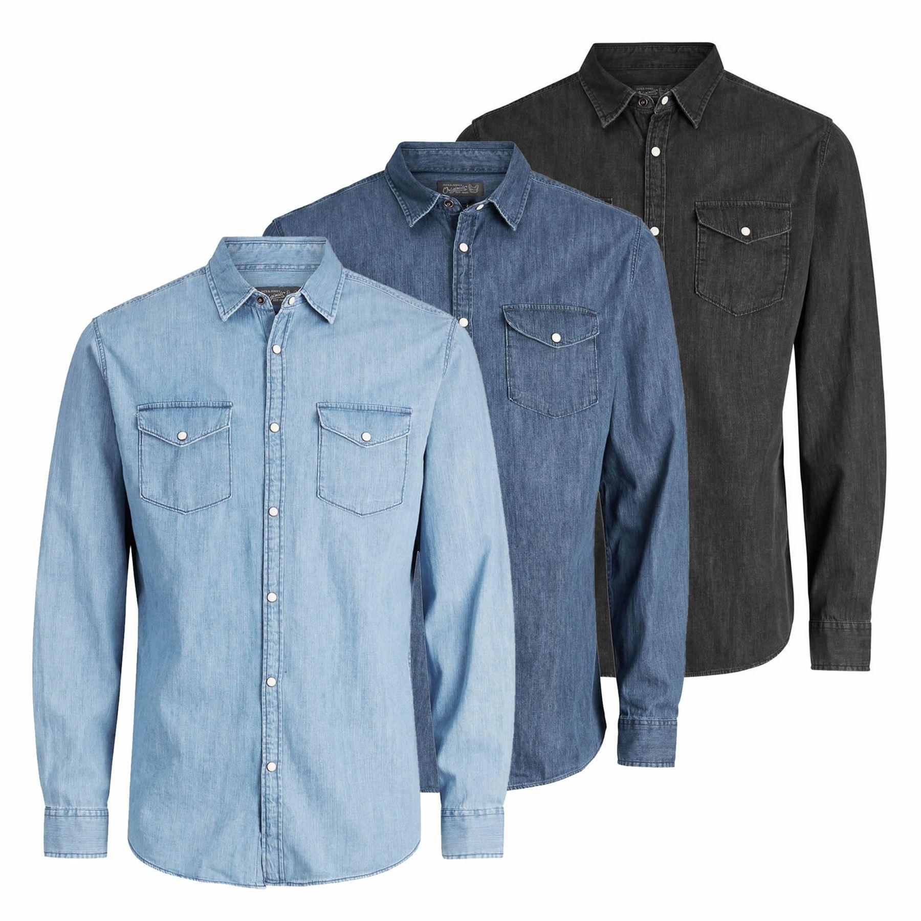 f715b38a3a JACK   JONES One Mens Denim Shirt Long Sleeve Collared Denim Top