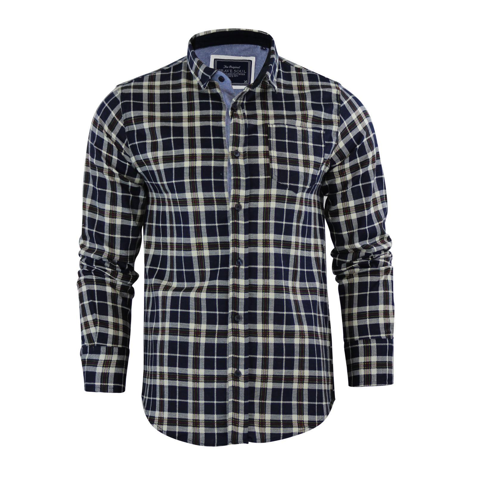Alma-VALIENTE-HOMBRE-compruebe-Camisa-Algodon-Cepillado-De-Franela-Top-Manga-Larga-Casual miniatura 71