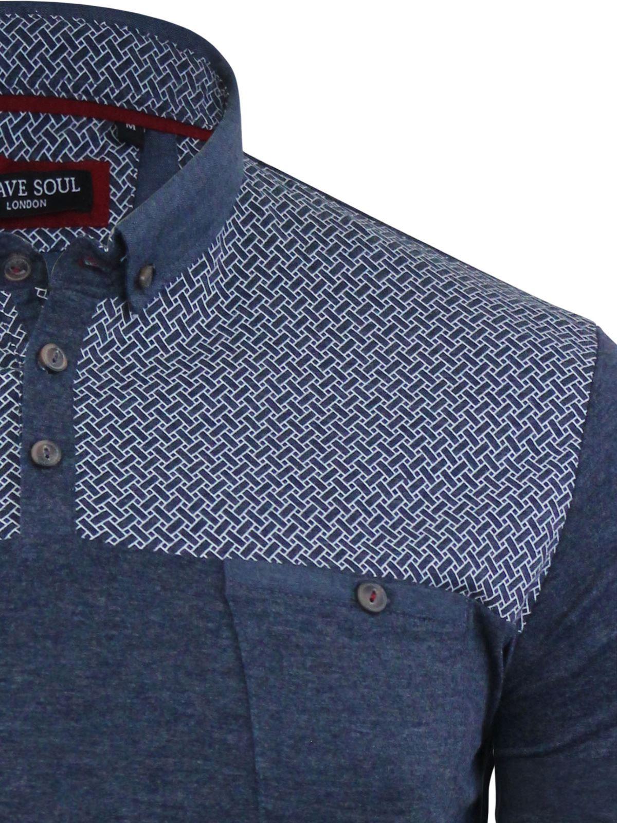 Mens-Polo-T-Shirt-Brave-Soul-Aqua-Printed-Short-Sleeve-Chambray-Collar-Top thumbnail 4