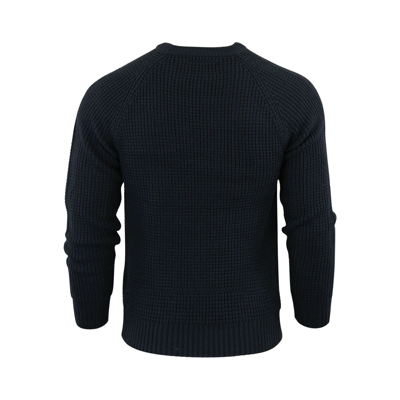 Mens-Jumper-Crosshatch-General-Waffle-Knitted-Crew-Neck-Wool-Mix-Sweater thumbnail 17