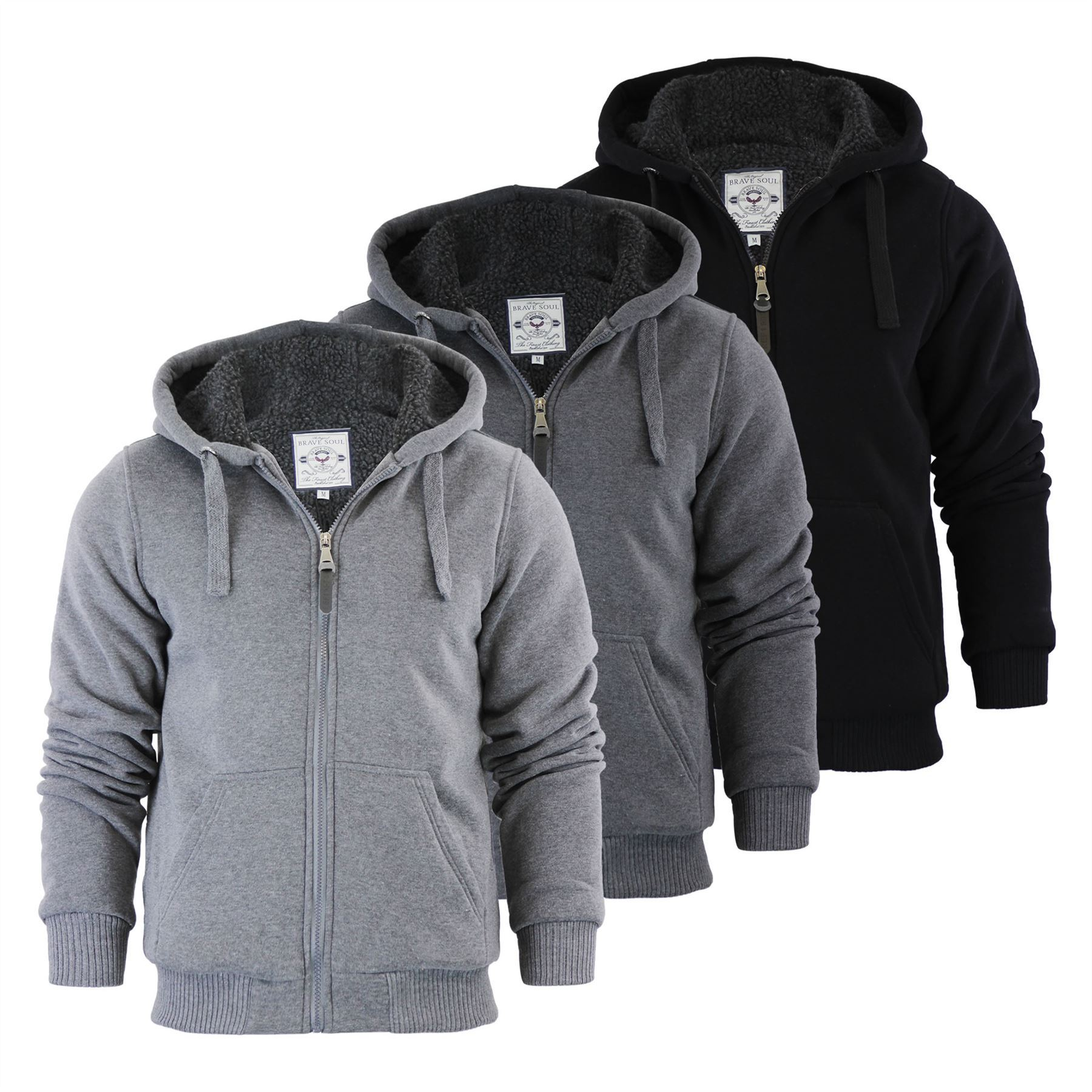 Details about Brave Soul Zone Mens Hoodie Sherpa Fleece Lined Zip Up Hooded Sweater