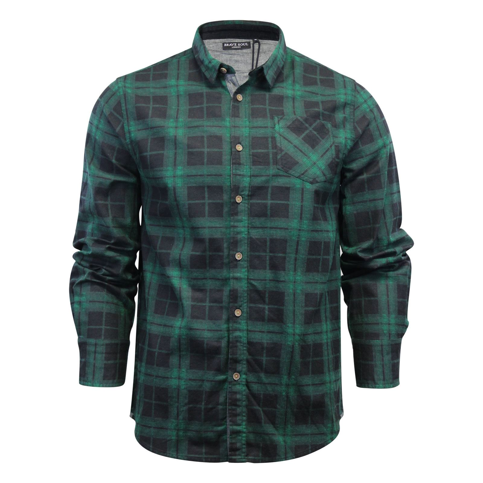 Brave-Soul-Mens-Check-Shirt-Flannel-Brushed-Cotton-Long-Sleeve-Casual-Top thumbnail 53