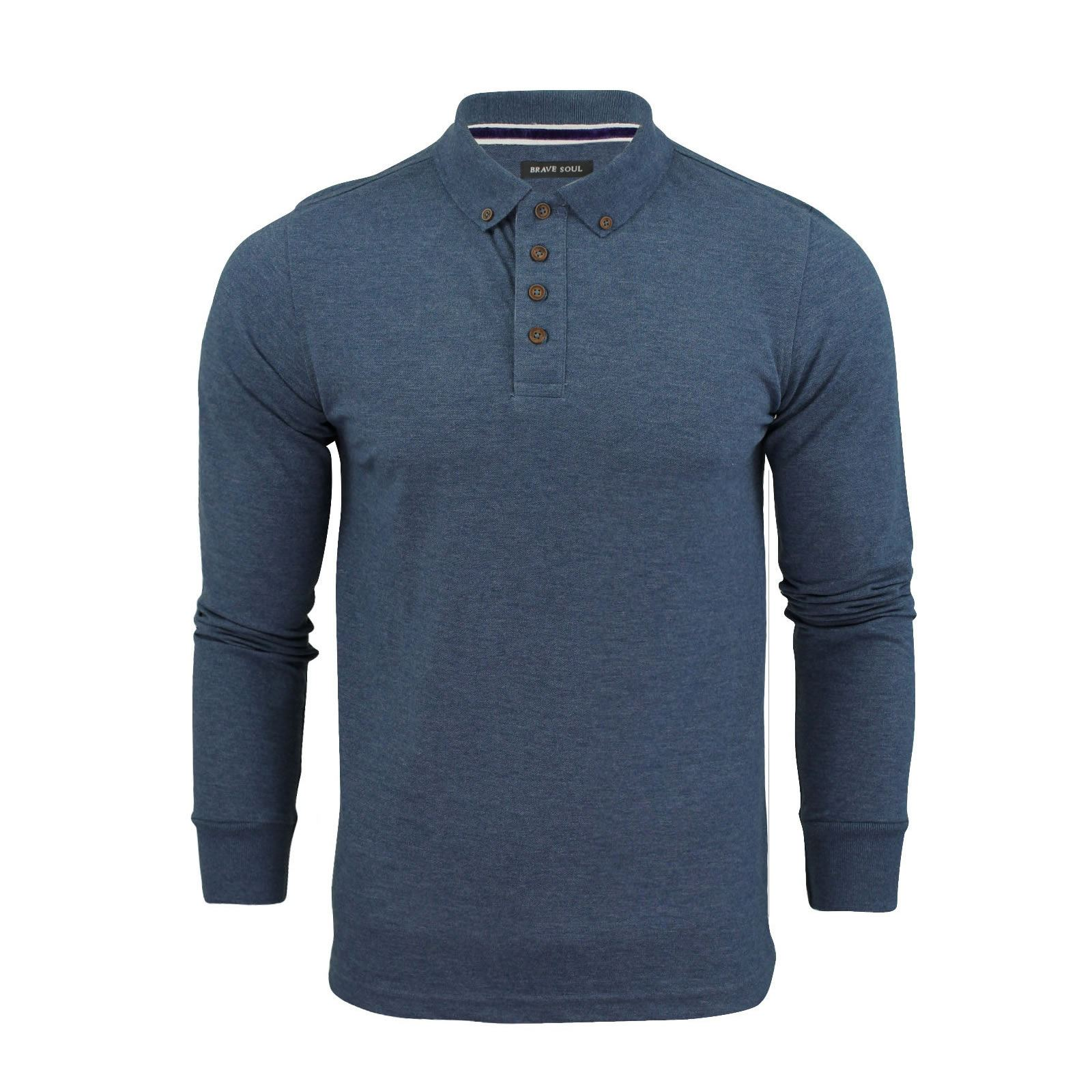 Brave-Soul-Lincoln-Homme-Polo-Shirt-a-Manches-Longues-En-Coton-Pique-Top-Casual miniature 20