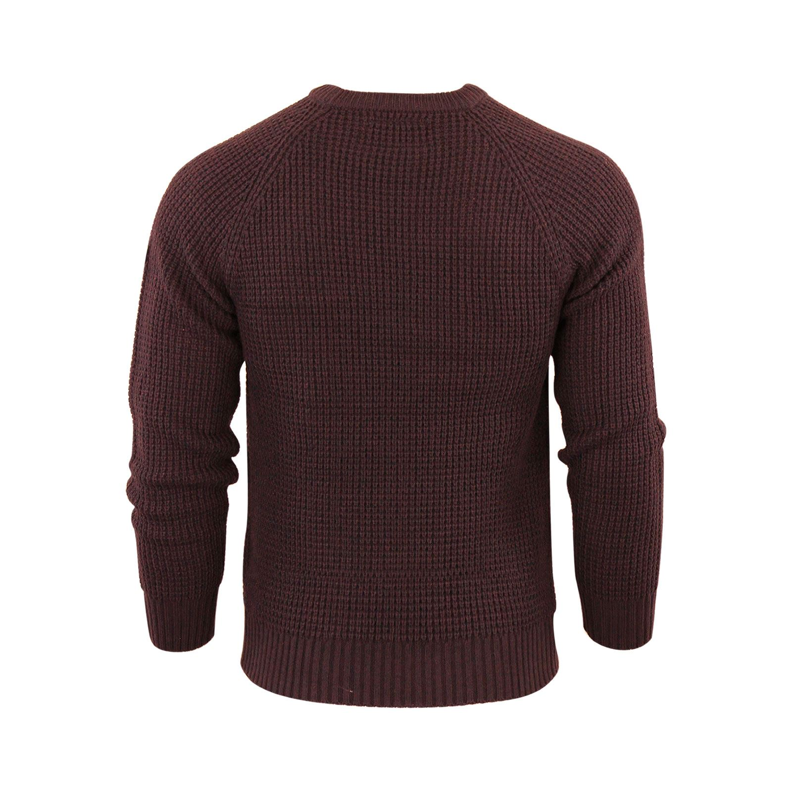 Mens-Jumper-Crosshatch-General-Waffle-Knitted-Crew-Neck-Wool-Mix-Sweater thumbnail 3