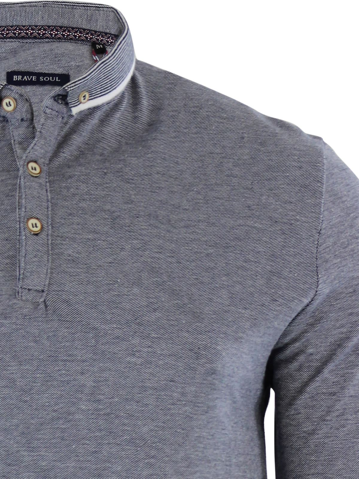 Mens-Polo-Shirt-Brave-Soul-Long-Sleeve-Collared-Top-In-Various-Styles thumbnail 7