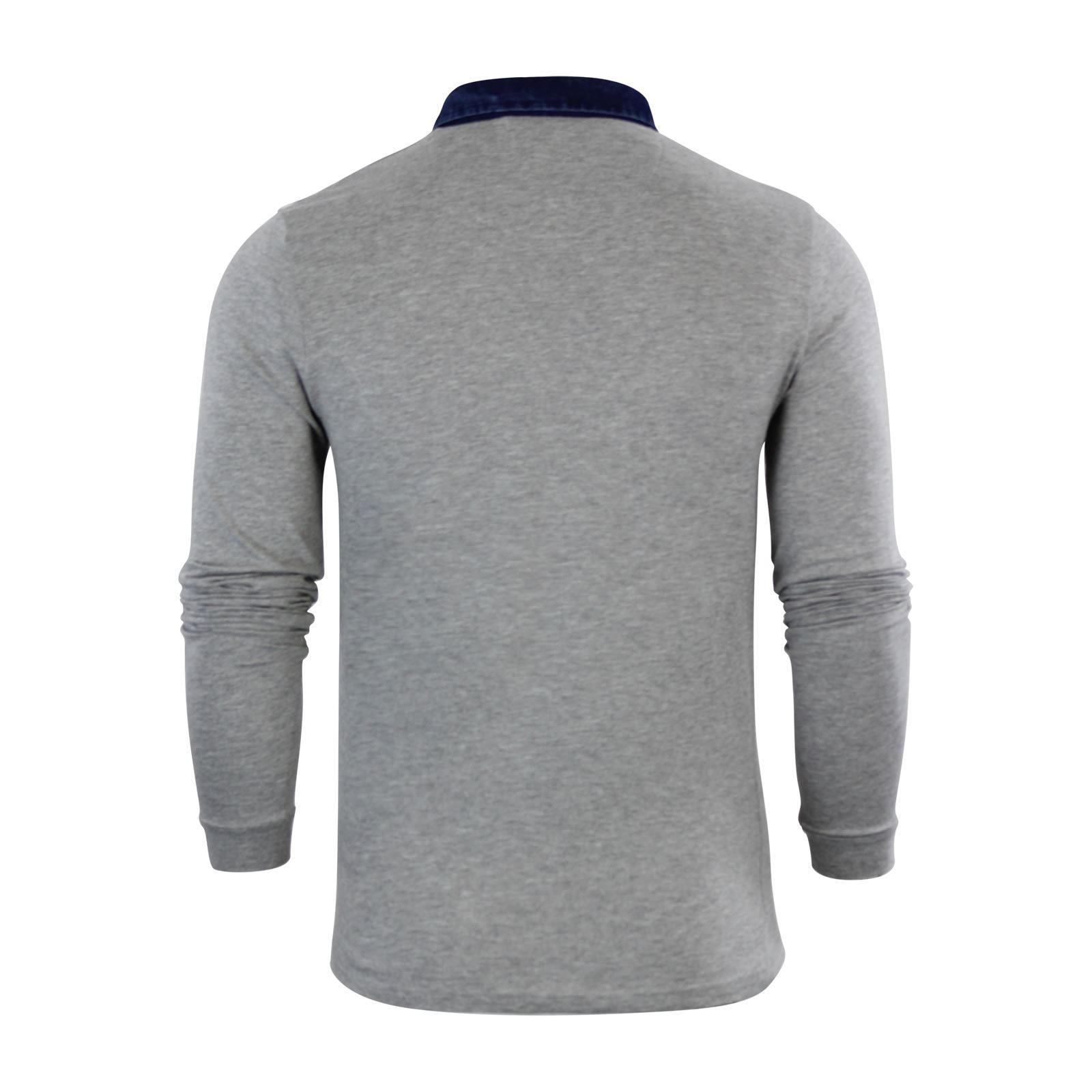 Brave-Soul-Gospel-Homme-Polo-T-Shirt-Denim-a-col-a-manches-longues-Top-Casual miniature 9