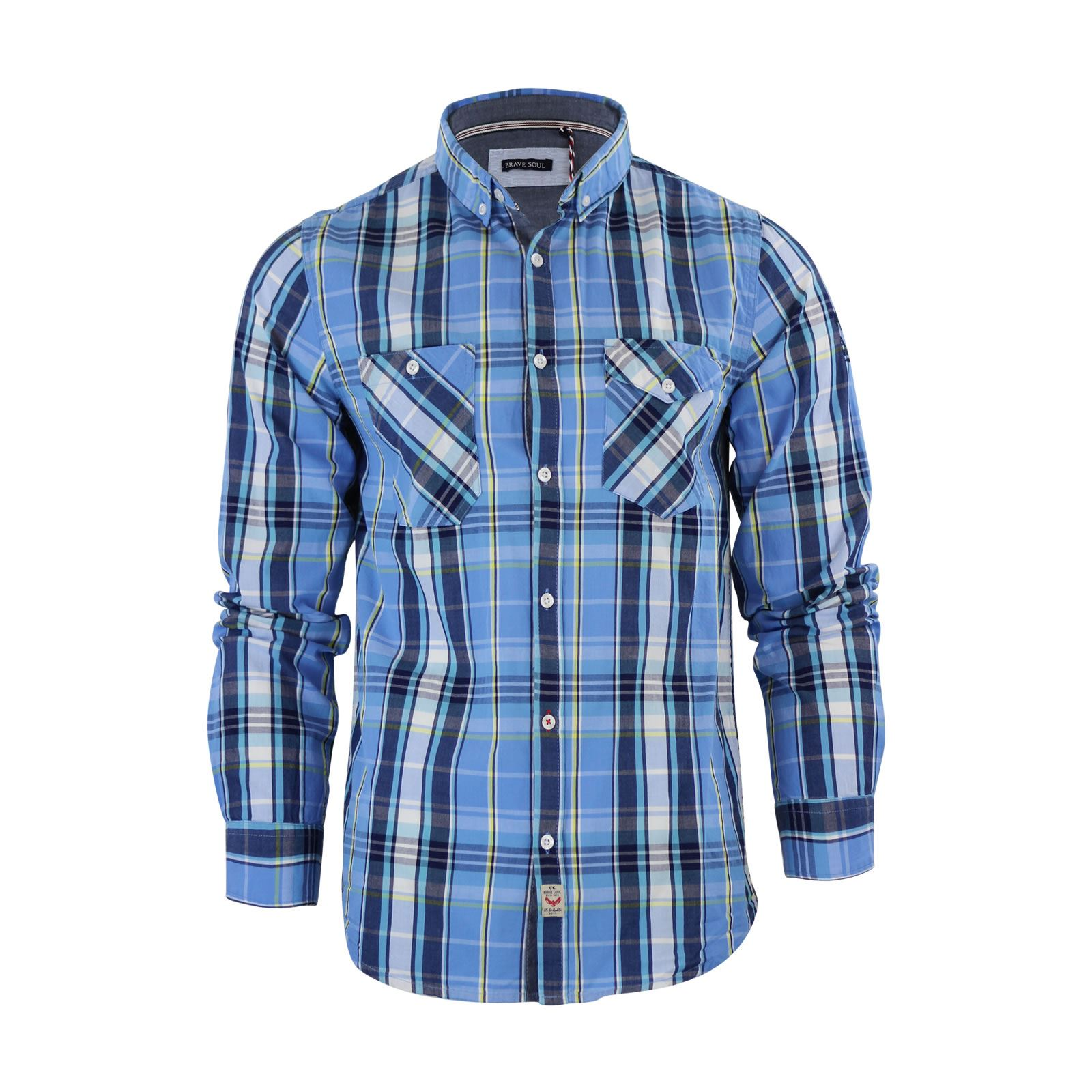 Brave-Soul-Mens-Check-Shirt-Flannel-Brushed-Cotton-Long-Sleeve-Casual-Top thumbnail 6