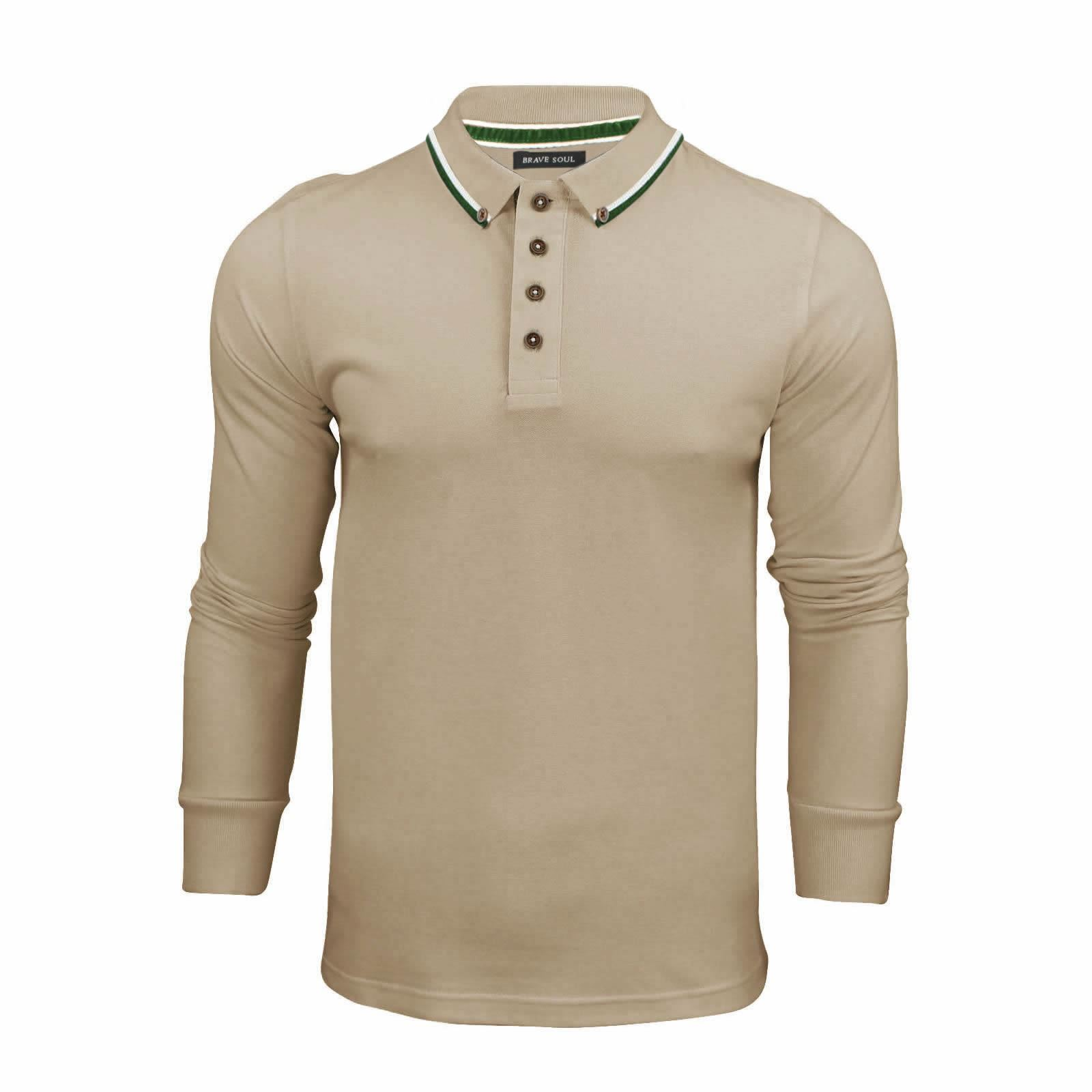 Brave-Soul-Lincoln-Homme-Polo-Shirt-a-Manches-Longues-En-Coton-Pique-Top-Casual miniature 5