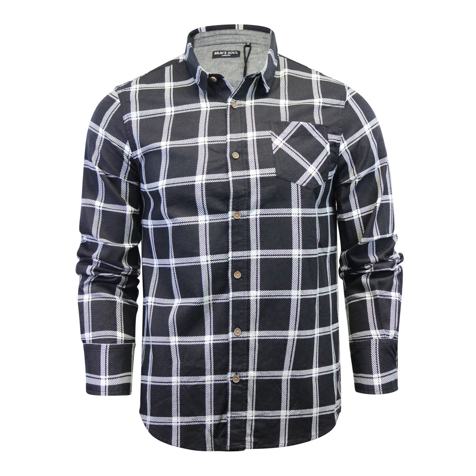 Brave-Soul-Mens-Check-Shirt-Flannel-Brushed-Cotton-Long-Sleeve-Casual-Top thumbnail 47