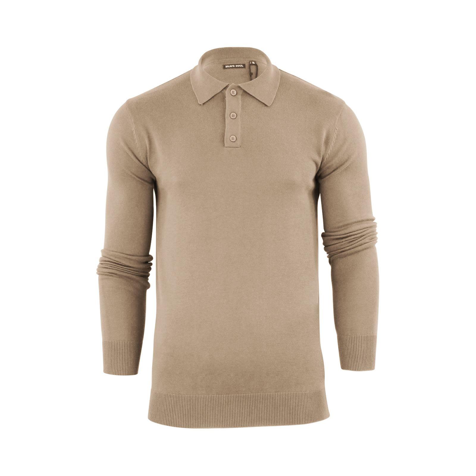Brave-Soul-Patte-De-Boutonnage-Homme-Tricot-Polo-T-Shirt-a-Col-Pull miniature 5