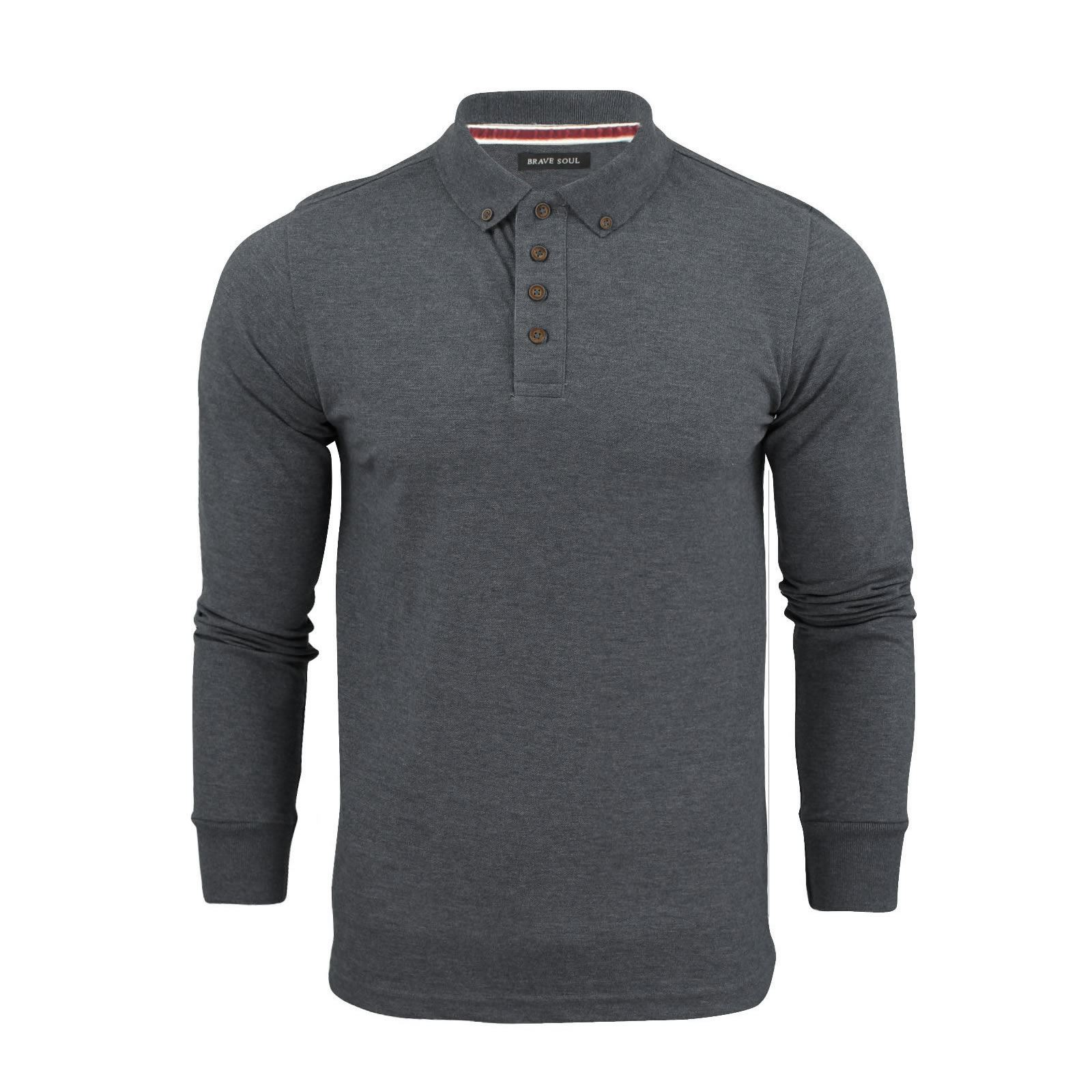 Mens polo t shirt brave soul lincoln long sleeve cotton for Mens collared t shirts