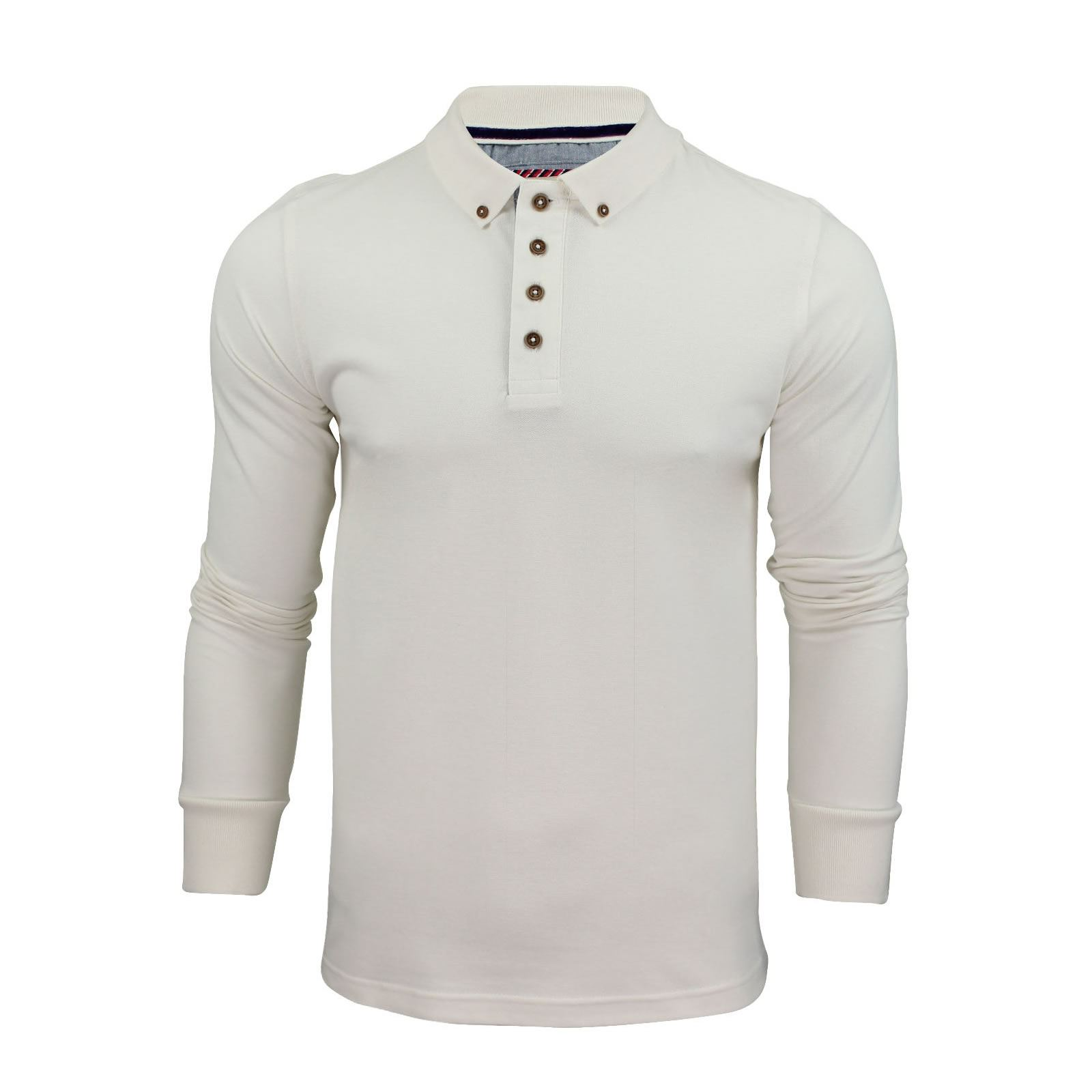 Brave-Soul-Lincoln-Homme-Polo-Shirt-a-Manches-Longues-En-Coton-Pique-Top-Casual miniature 36