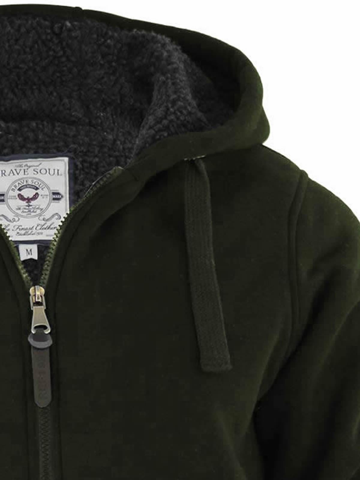 Mens-Hoodie-Brave-Soul-Zone-Sherpa-Fleece-Lined-Zip-Up-Hooded-Sweater thumbnail 13