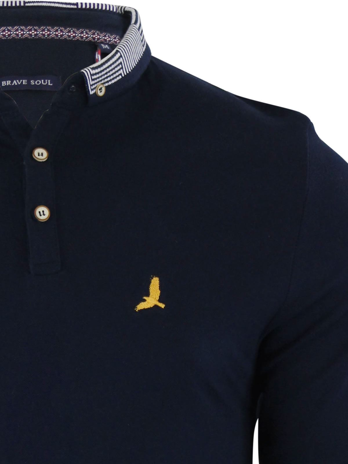 Brave-Soul-Mens-Polo-Shirt-Long-Sleeve-Collared-Top-In-Various-Styles thumbnail 104