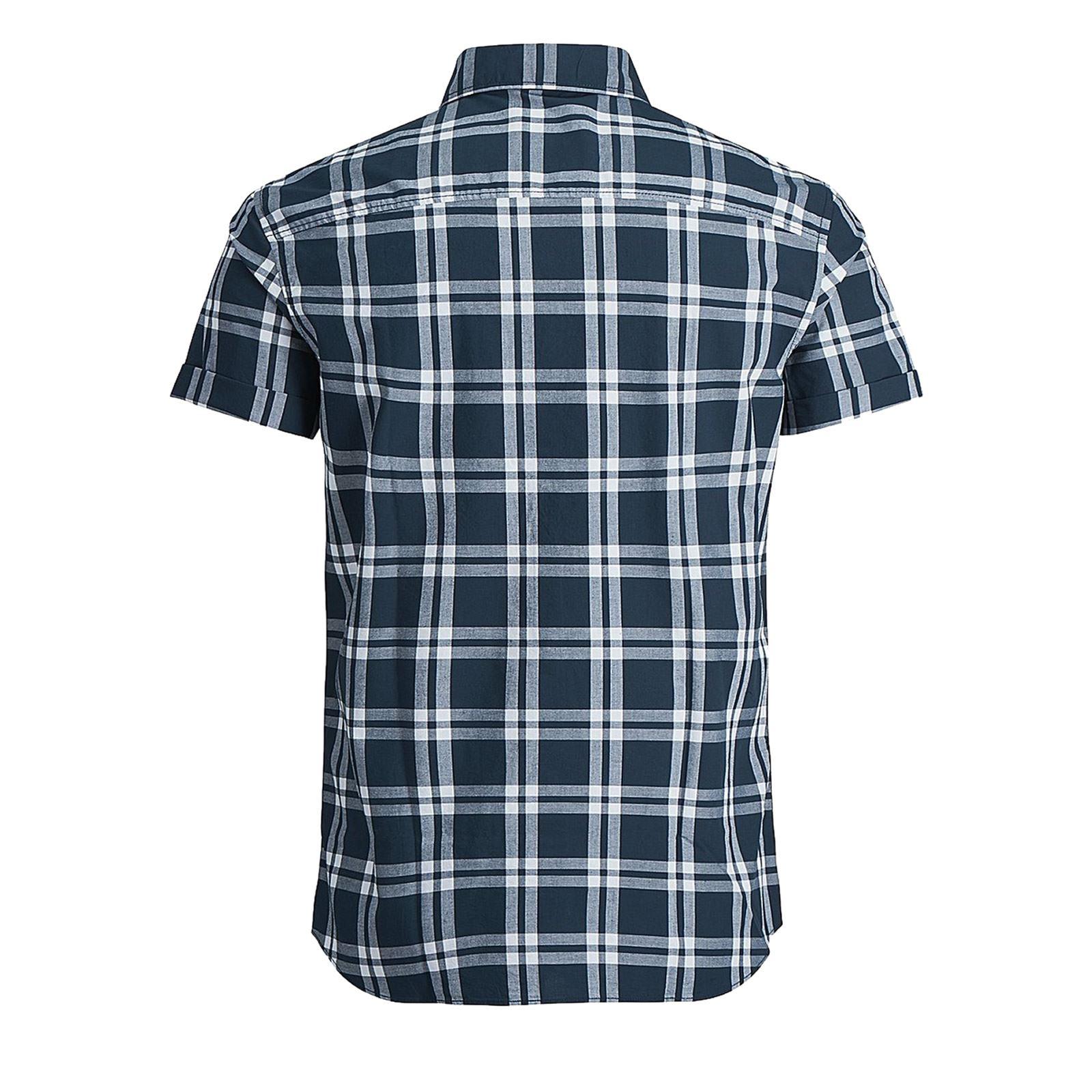 JACK-amp-JONES-Fischer-Mens-Check-Shirt-Collared-Short-Sleeve-Casual-Top thumbnail 5
