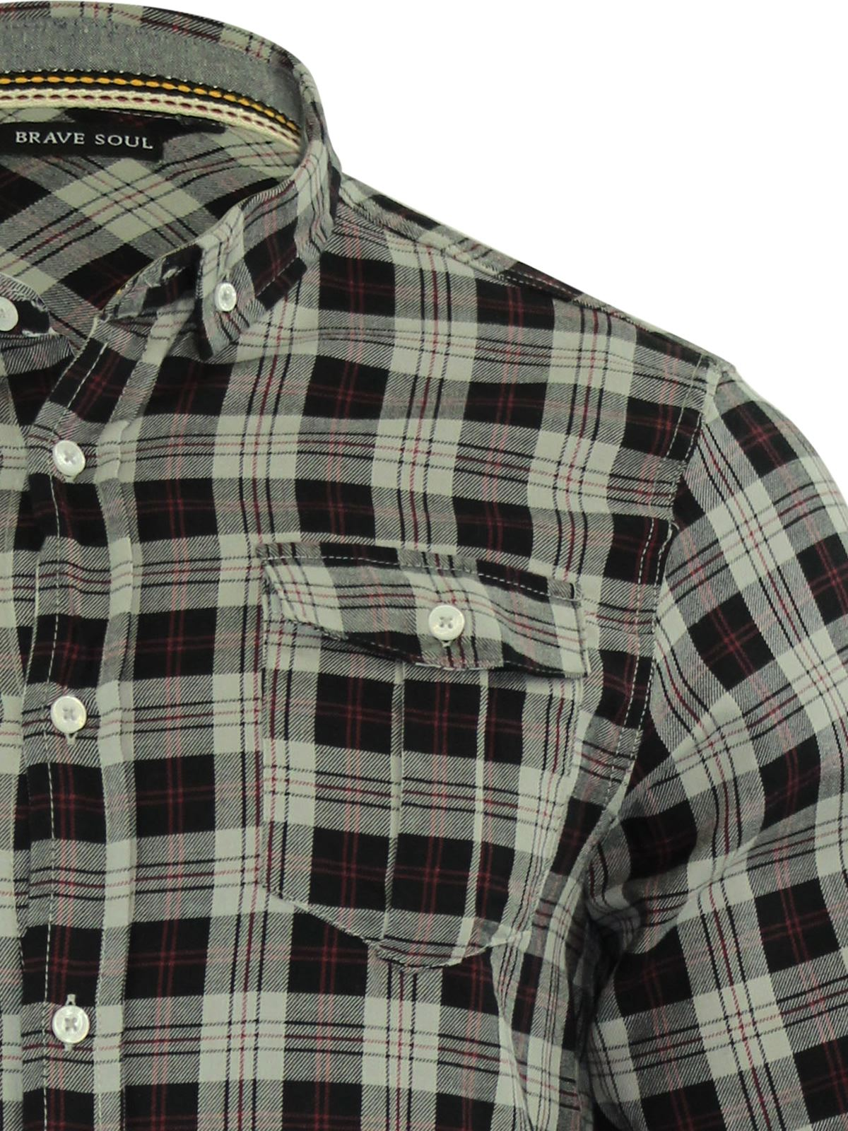 Mens-Check-Shirt-Brave-Soul-Flannel-Brushed-Cotton-Long-Sleeve-Casual-Top thumbnail 58