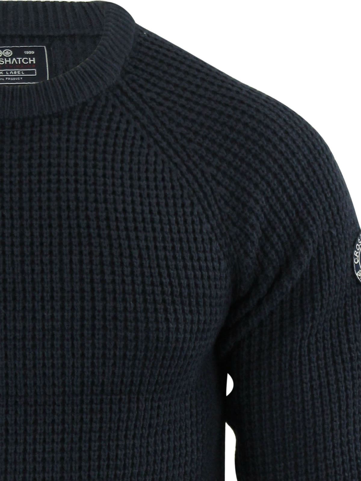 Mens-Jumper-Crosshatch-General-Waffle-Knitted-Crew-Neck-Wool-Mix-Sweater thumbnail 18