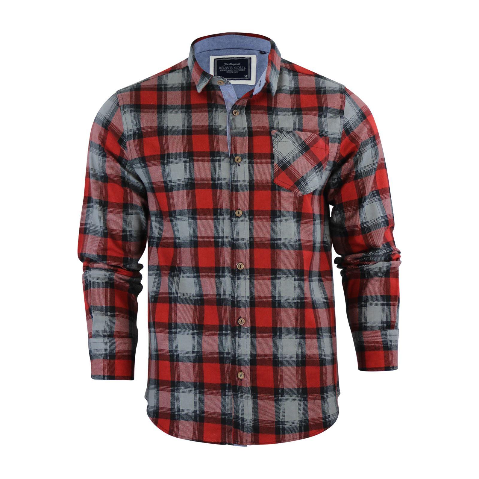 Alma-VALIENTE-HOMBRE-compruebe-Camisa-Algodon-Cepillado-De-Franela-Top-Manga-Larga-Casual miniatura 37