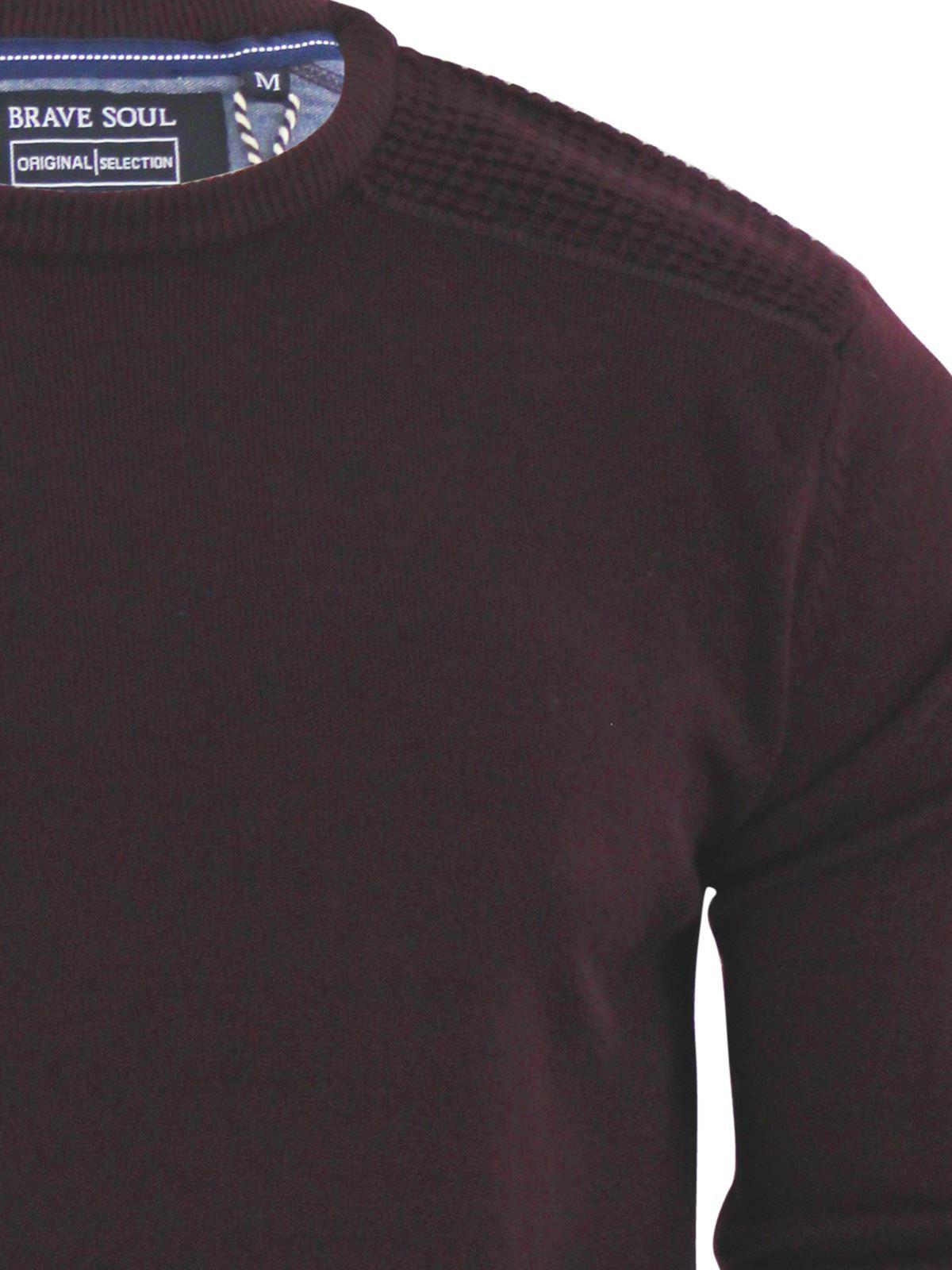 Brave-Soul-Luna-Mens-Jumper-Crew-Neck-Sweater-With-Shoulder-Detailing miniature 10