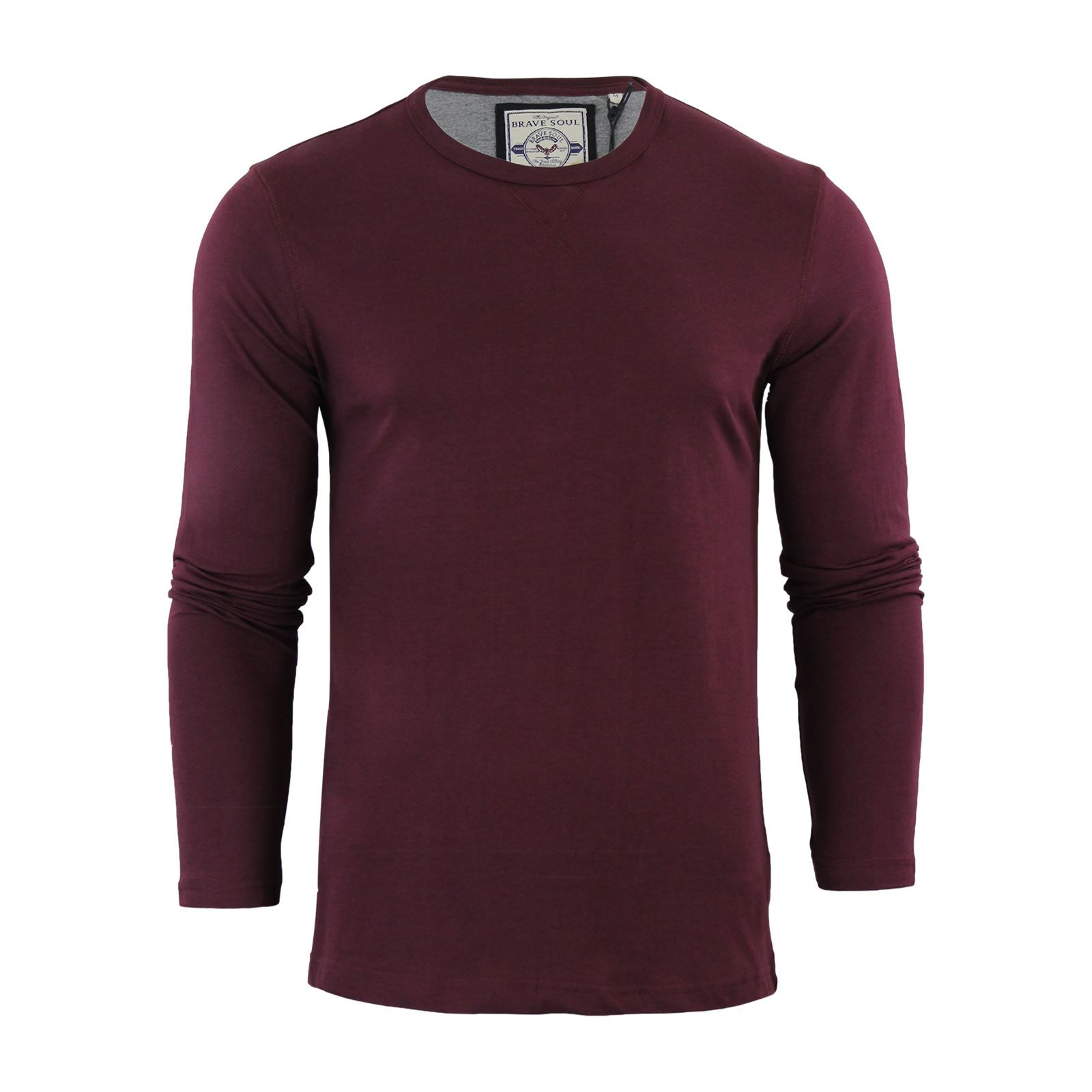 Brave-Soul-Prague-Mens-T-Shirt-by-Cotton-Long-Sleeved-Crew-Neck-Casual-Top thumbnail 16