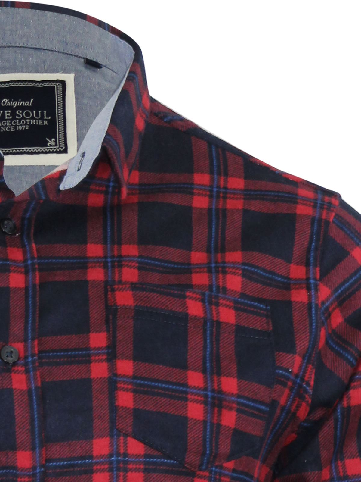 Mens-Check-Shirt-Brave-Soul-Flannel-Brushed-Cotton-Long-Sleeve-Casual-Top thumbnail 73