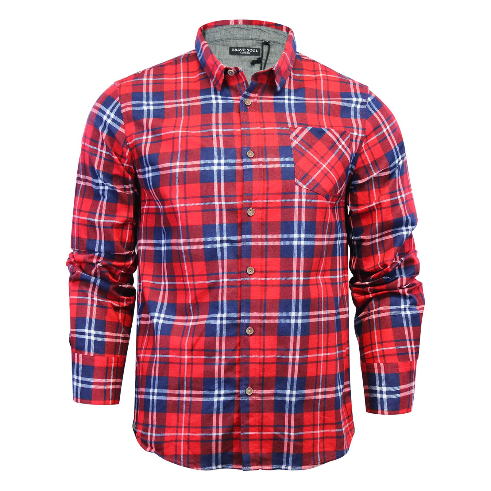 Brave-Soul-Mens-Check-Shirt-Flannel-Brushed-Cotton-Long-Sleeve-Casual-Top thumbnail 4